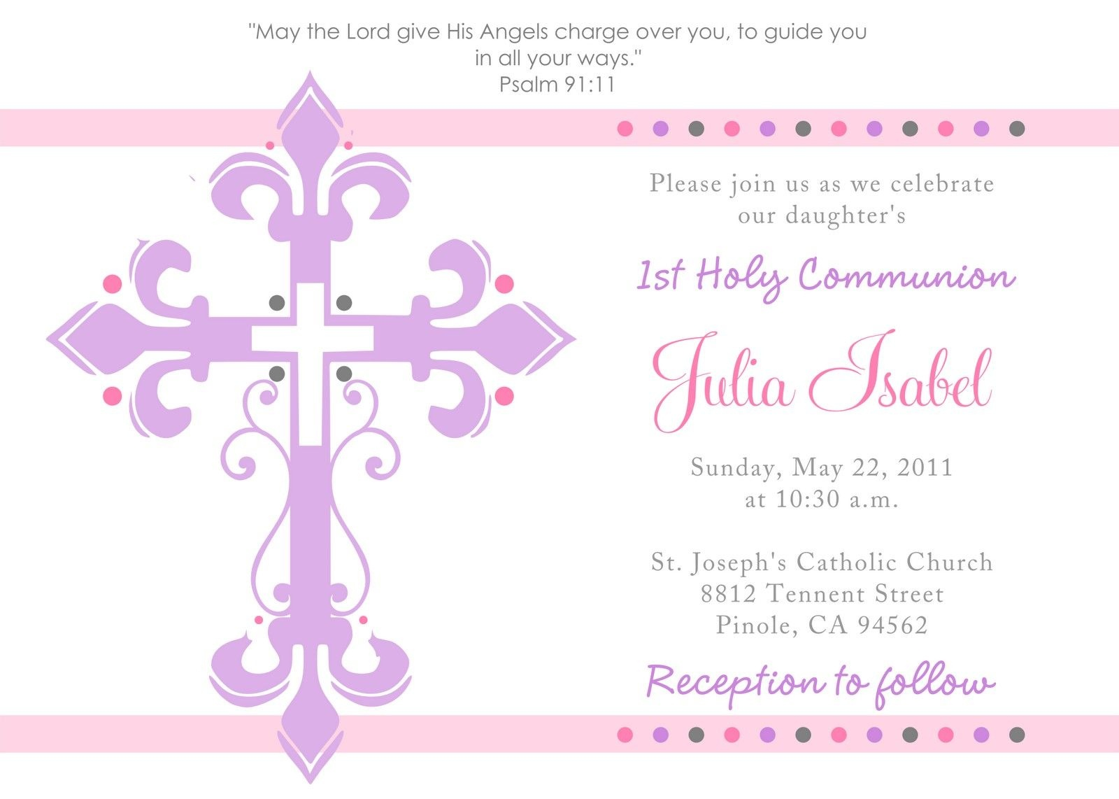 First Communion Invitation Template - Tutlin.psstech.co - First Holy Communion Cards Printable Free