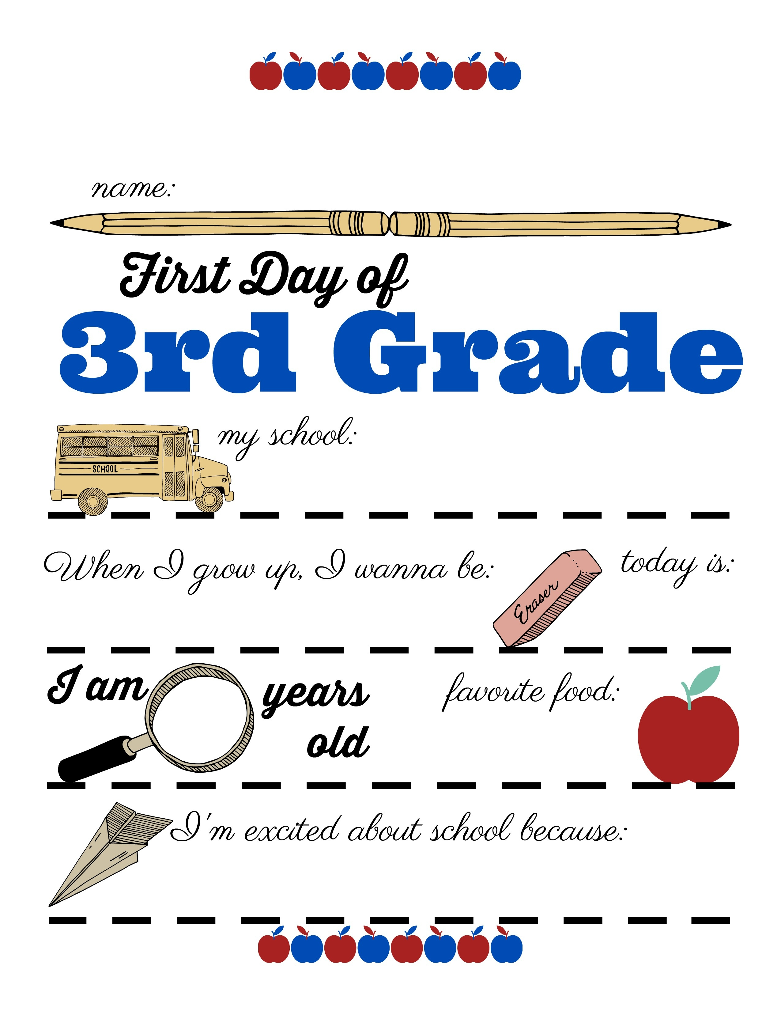 First Day Of School Sign Free Printable 3Rd Grade - Any Tots - First Day Of 3Rd Grade Free Printable