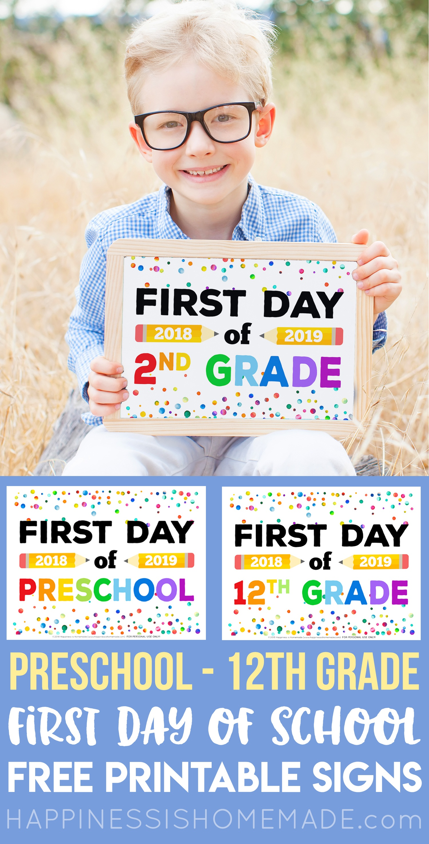 First Day Of School Signs - Free Printables - Happiness Is Homemade - Free Printable Back To School