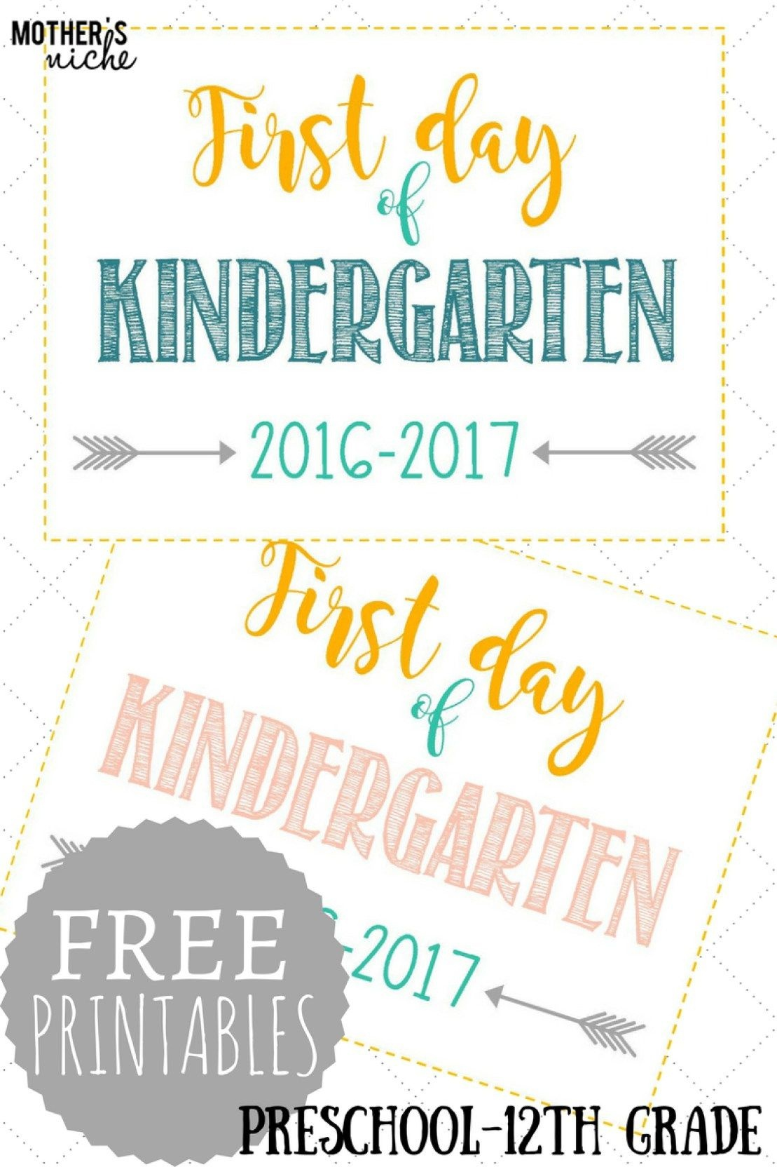 First Day Of School Signs: Free Printables *pre-School- 12Th Grade - First Day Of School Printable Free