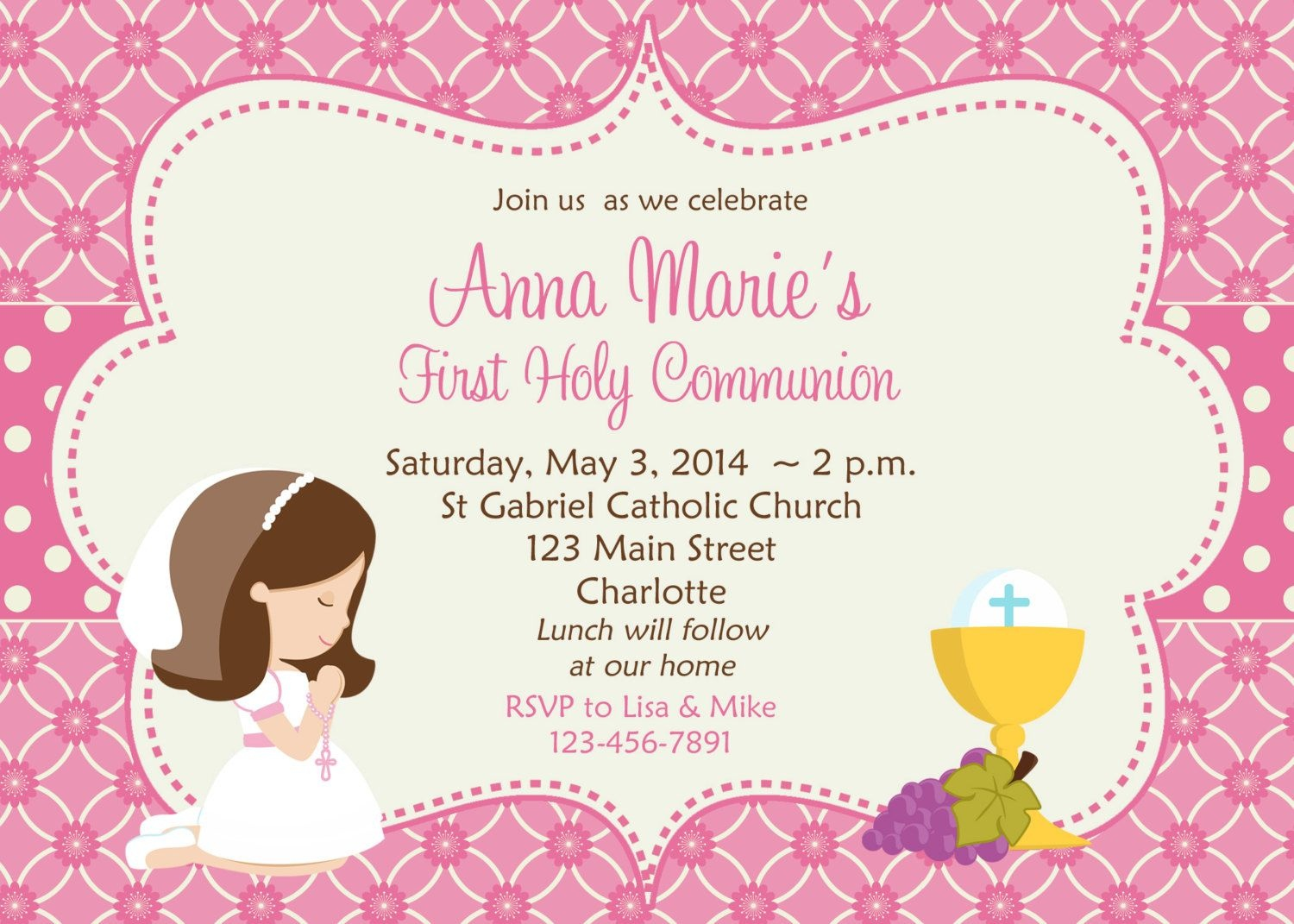 First Holy Communion Invitation Cards Free | Amber's Communion Ideas - Free Printable 1St Communion Invitations