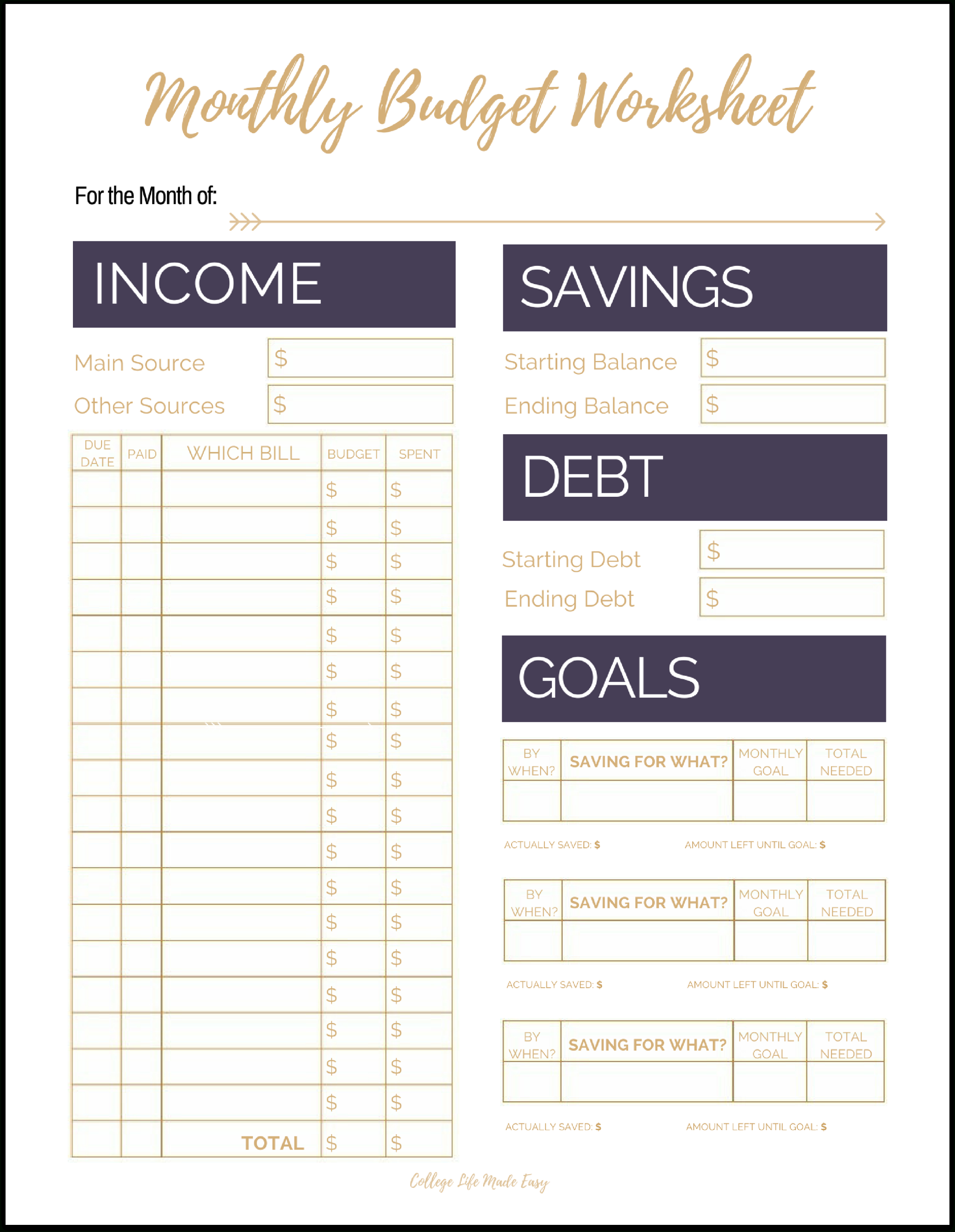 Fix Your Finances Asap With My (Free) Simple Monthly Budget Template - Free Printable Monthly Budget Worksheets