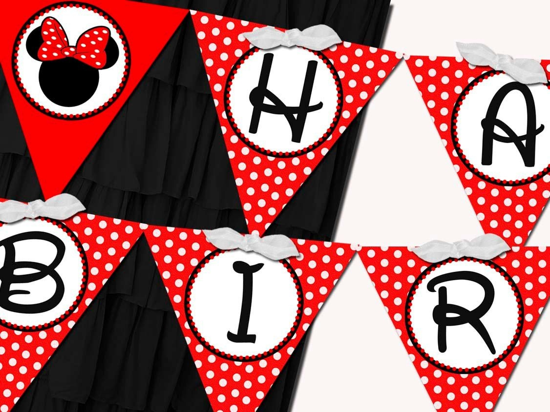 Flag Banner Girl Minnie Mouse Red Birthdaysticktoyourstory - Free Printable Mickey Mouse Birthday Banner