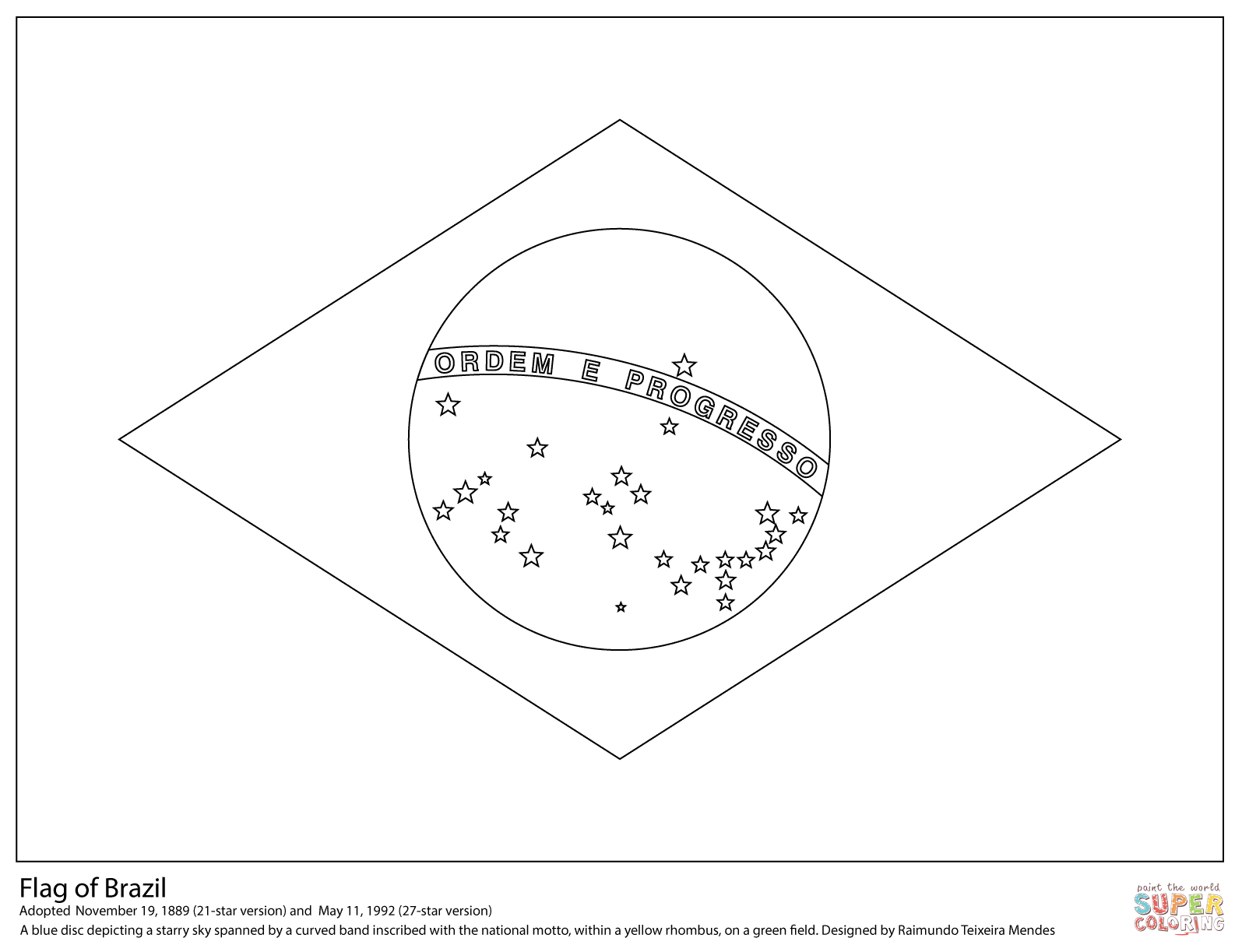 Flag Of Brazil Coloring Page   Free Printable Coloring Pages - Free Printable Brazil Flag