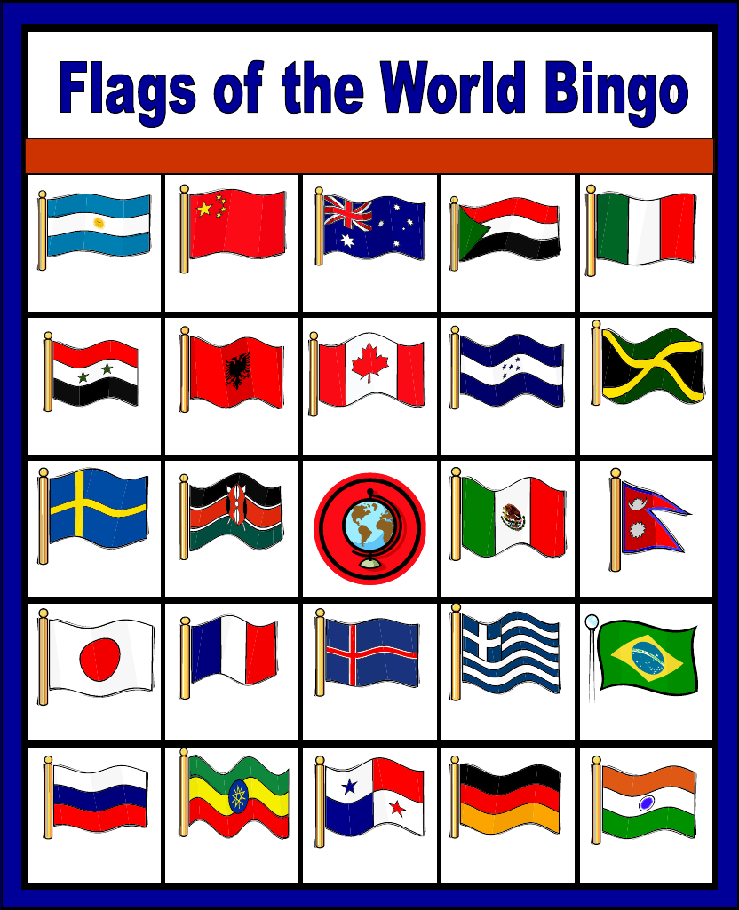 Flags Of The World Bingo - Free Printable (Only Enough For 6 Players - Free Printable Pictures Of Flags Of The World