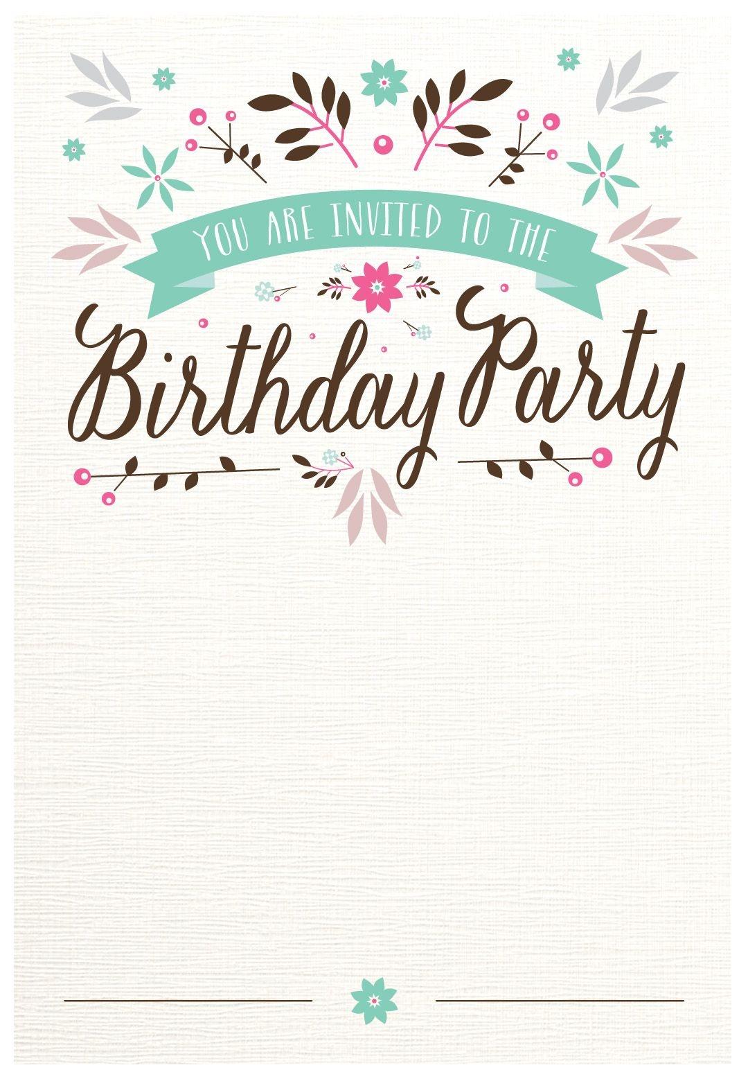 Flat Floral - Free Printable Birthday Invitation Template - Free Printable Birthday Invitations Pinterest