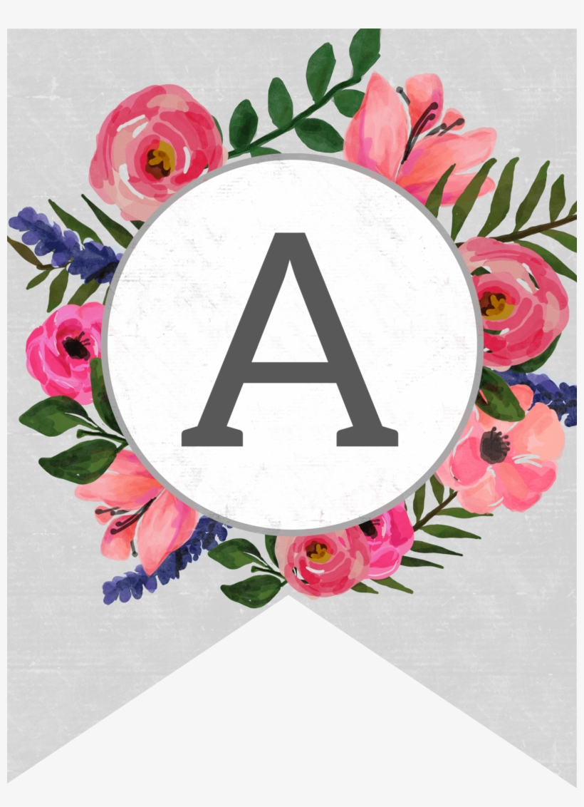 Floral Alphabet Banner Letters Free Printable - Free Printable - Free Printable Whole Alphabet Banner