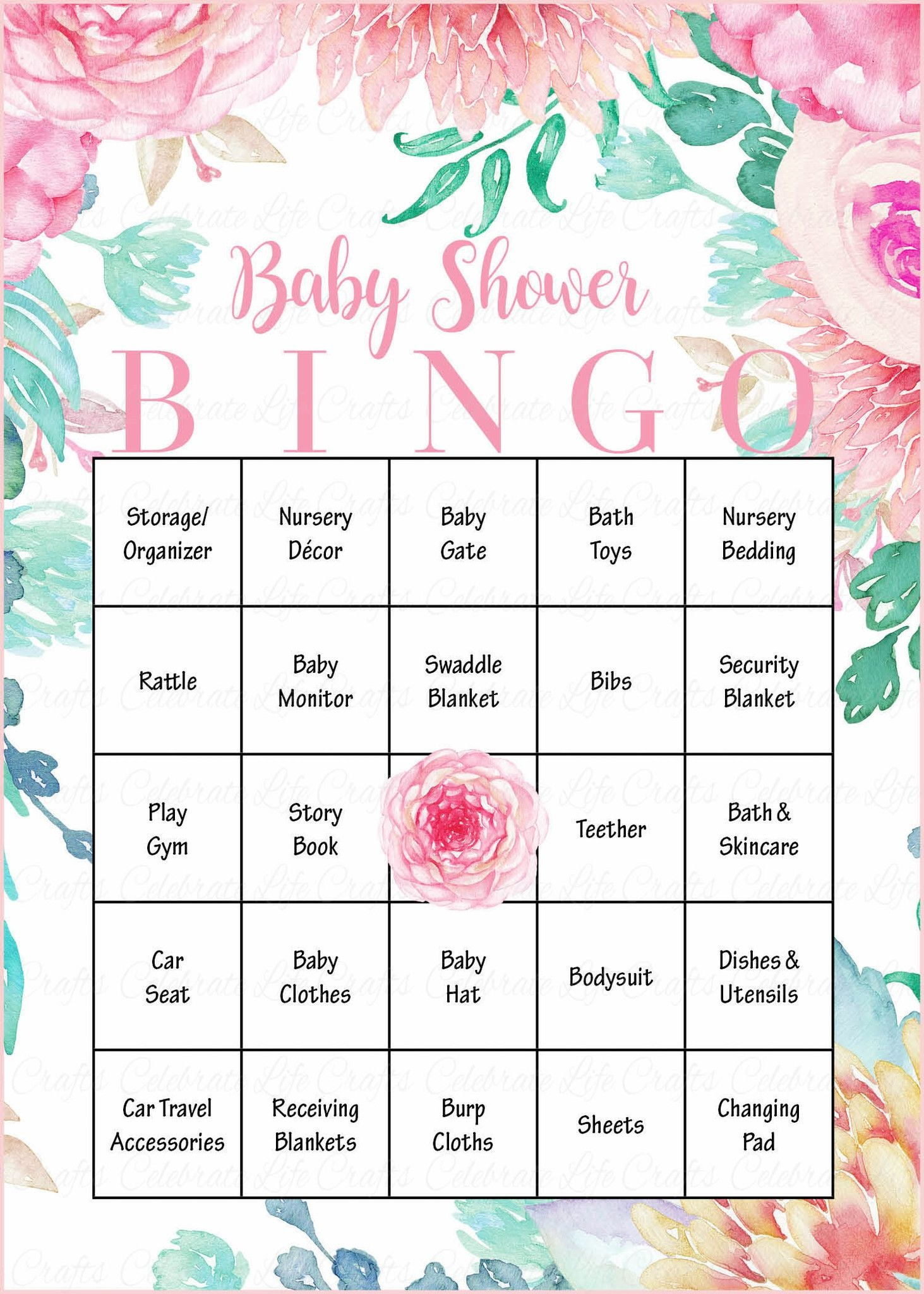 Floral Baby Bingo Cards - Printable Download - Prefilled - Spring - Free Printable Baby Registry Cards