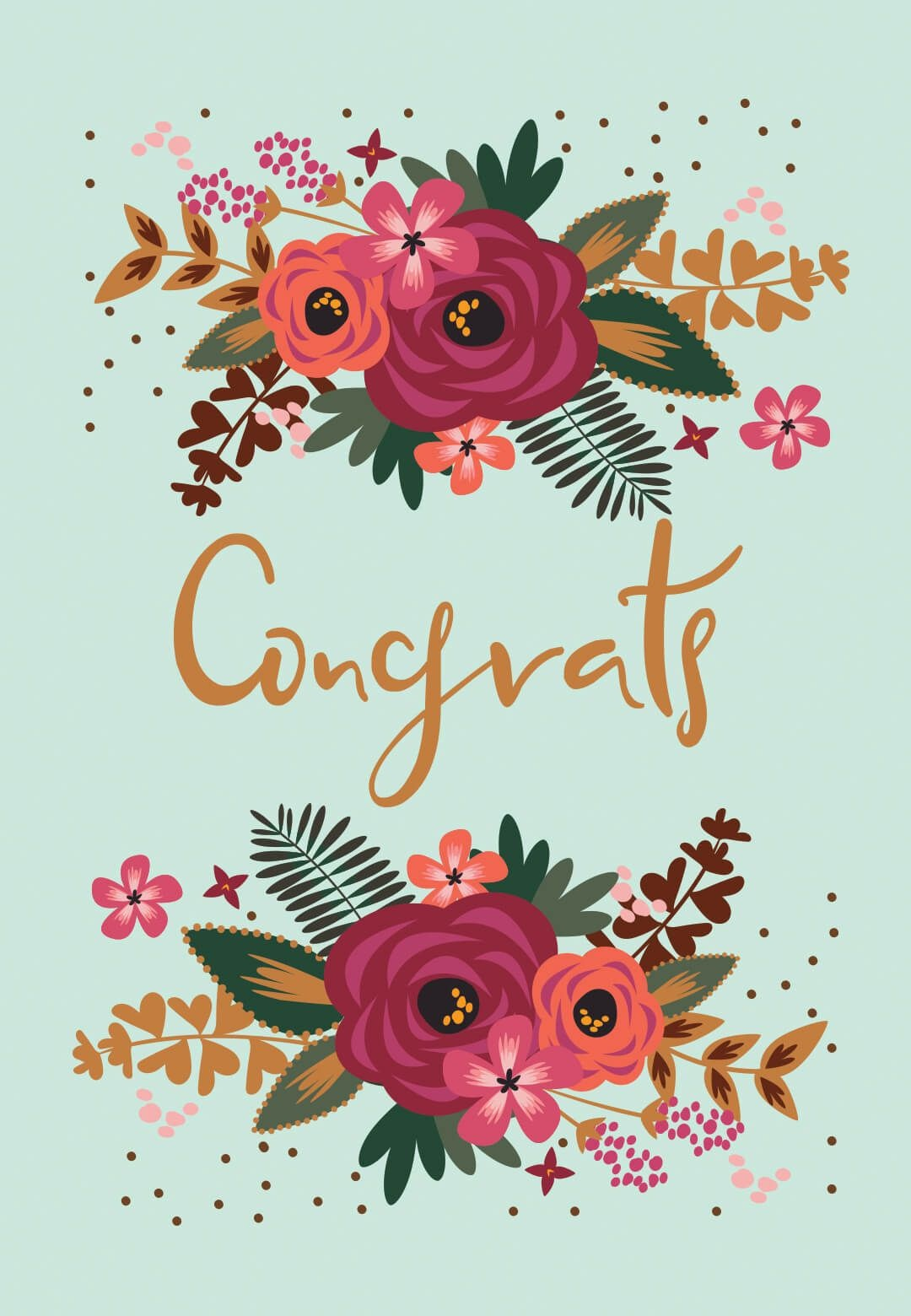 Floral Congrats - Free Printable Wedding Congratulations Card - Free Printable Wedding Congratulations Greeting Cards