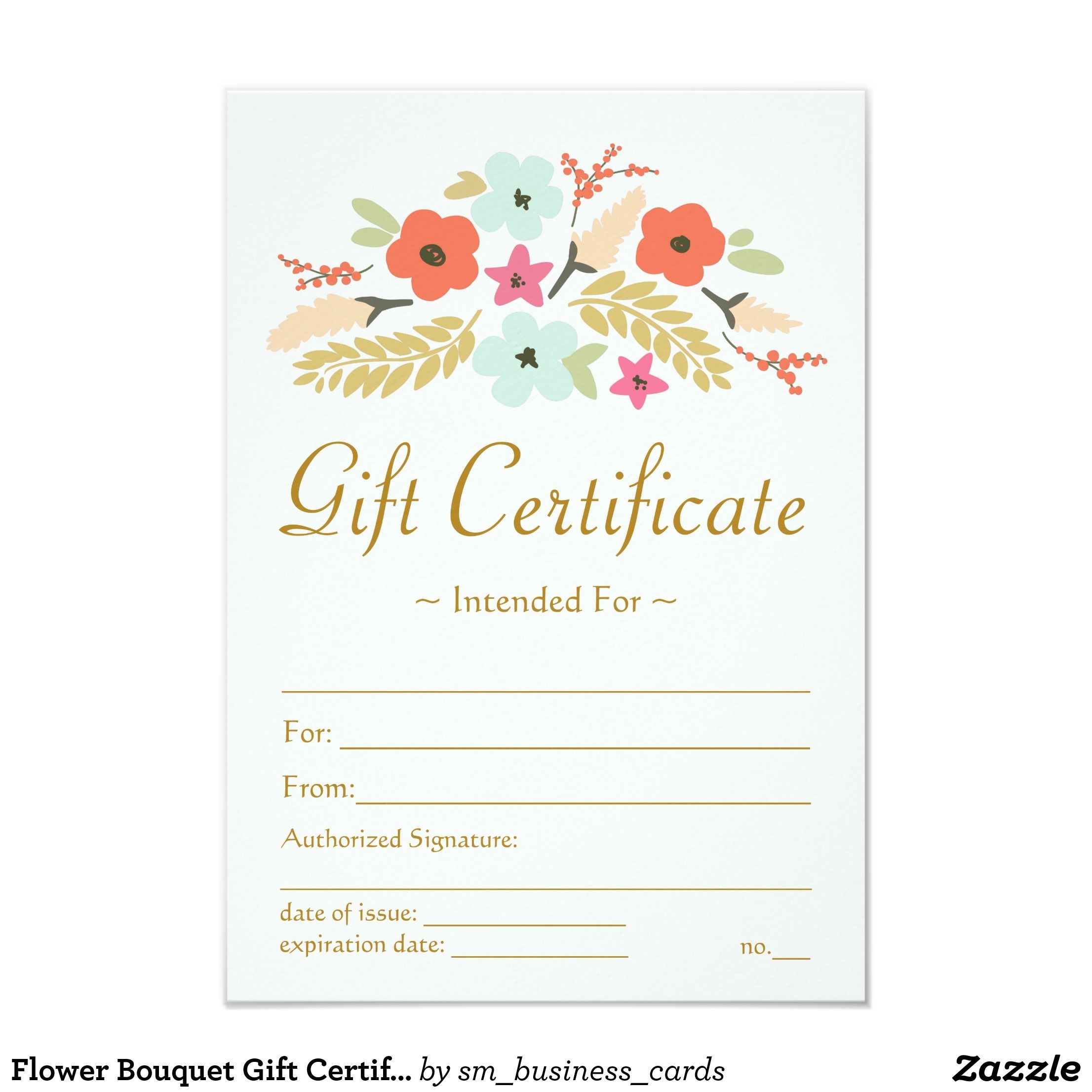 Flower Bouquet Gift Certificate | Zazzle | Baby | Gift - Free Printable Gift Certificate Templates For Massage