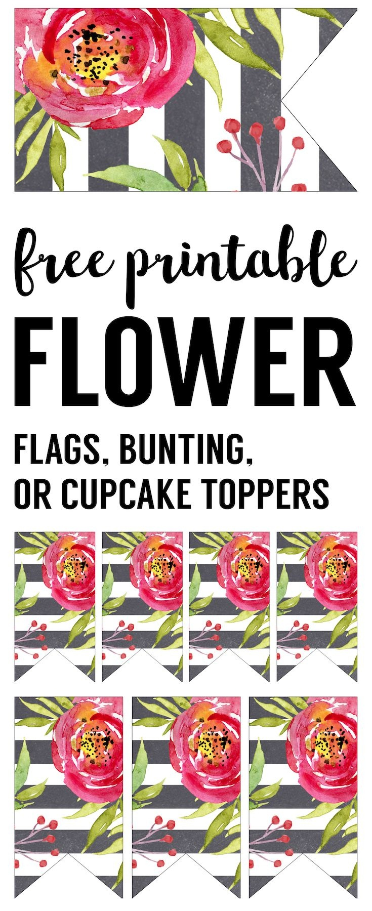 Flower Cupcake Topper Flags Free Printable | Relief Society - Free Printable Cupcake Toppers Bridal Shower