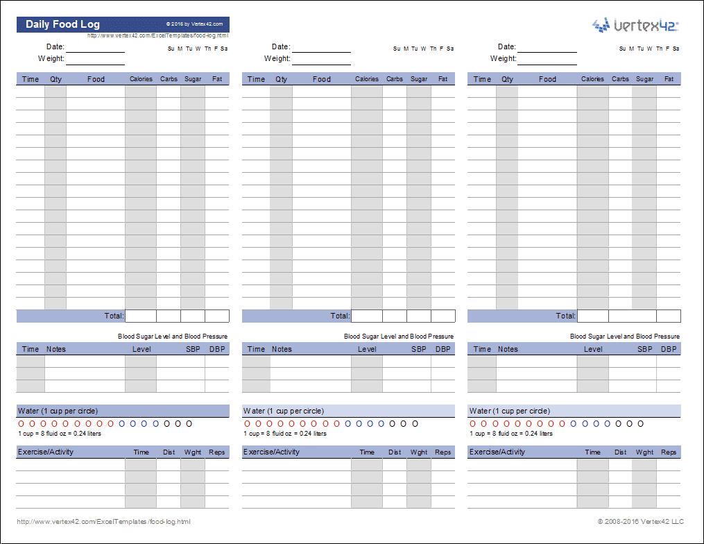 Food Log Template | Printable Daily Food Log - Free Printable Headache Diary