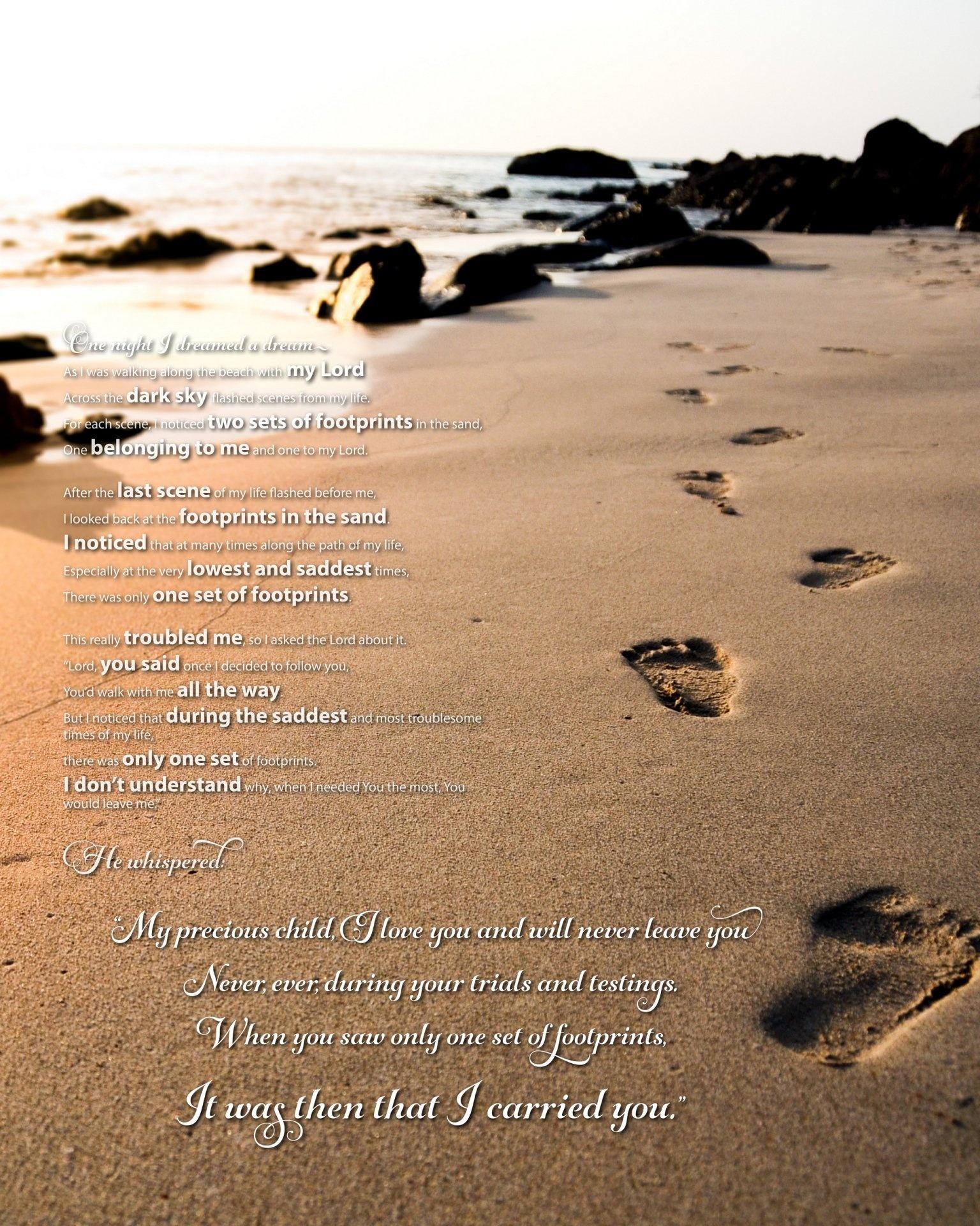 Footprints In The Sand Poem   Beautiful Poem From Only The Bible - Footprints In The Sand Printable Free
