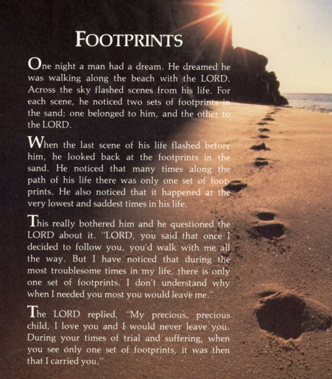 """Footprints In The Sand Poem   """"i Am The Master Of My Fate, I Am The - Footprints In The Sand Printable Free"""