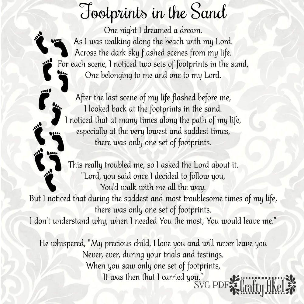 Footprints In The Sand Poem - Svg & Pdf Files - Vector - Clipart - Footprints In The Sand Printable Free
