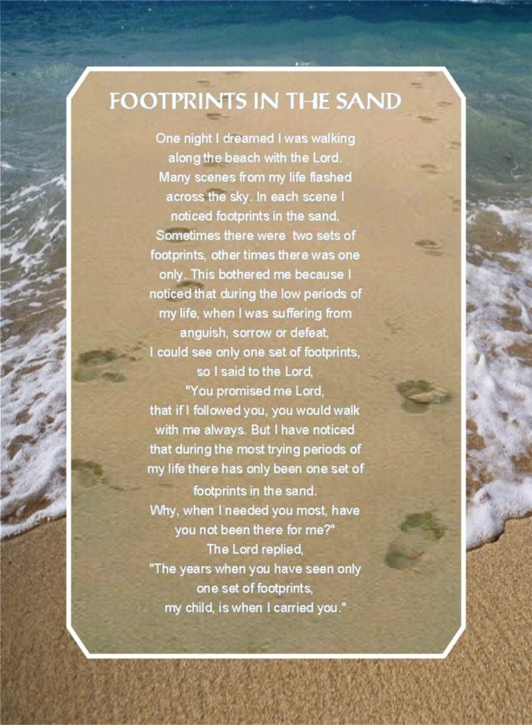 Footprints Poem Wallpaper - Wallpapersafari - Footprints In The Sand Printable Free