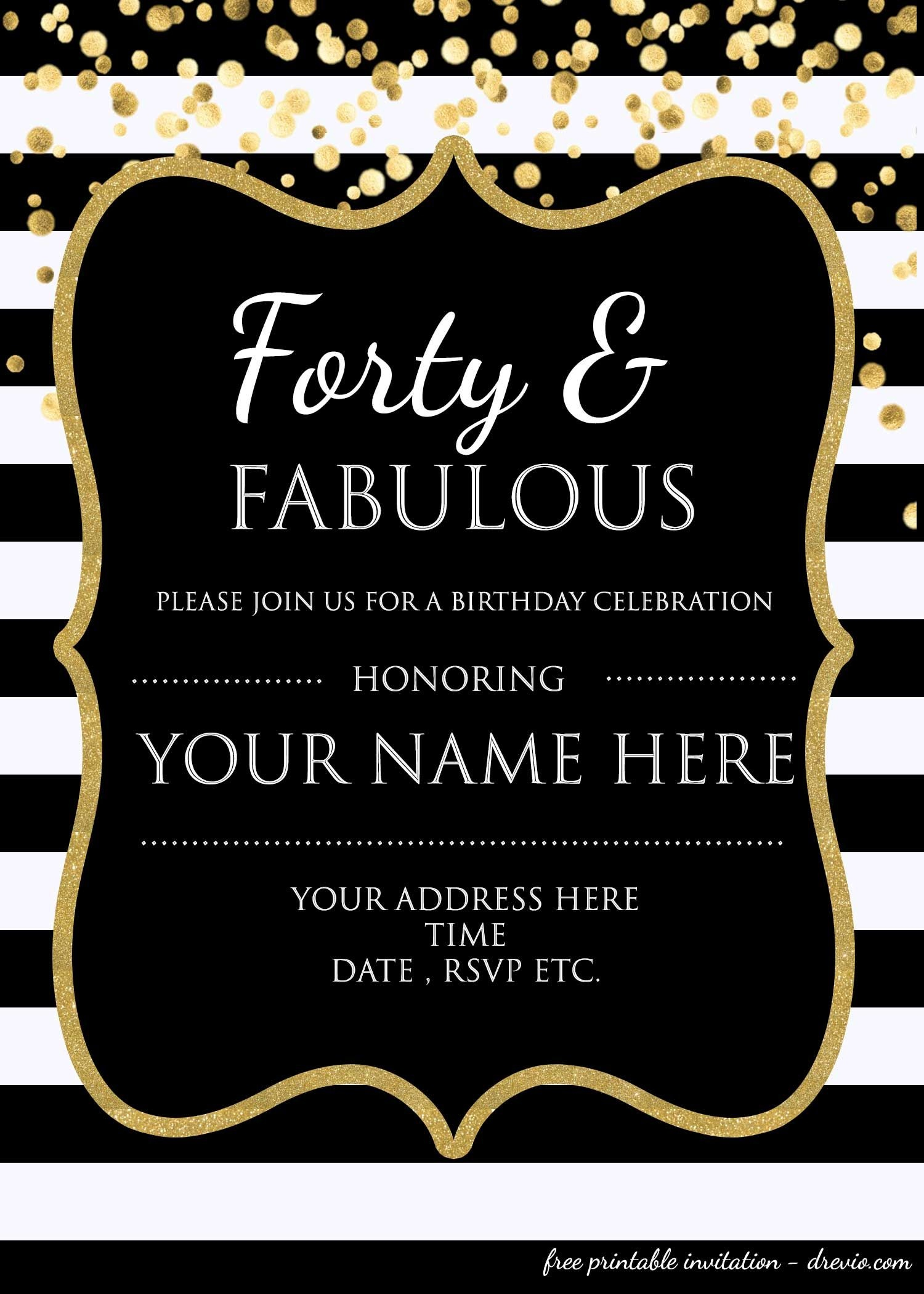 Forty & Fabulous : 40Th Birthday Invitation Template - Psd - Free Printable Surprise 60Th Birthday Invitations
