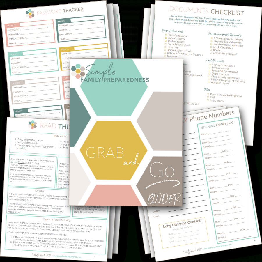 Free 18 Page Printable Grab And Go Binder | Simple Family Preparedness - Free Printable Documents