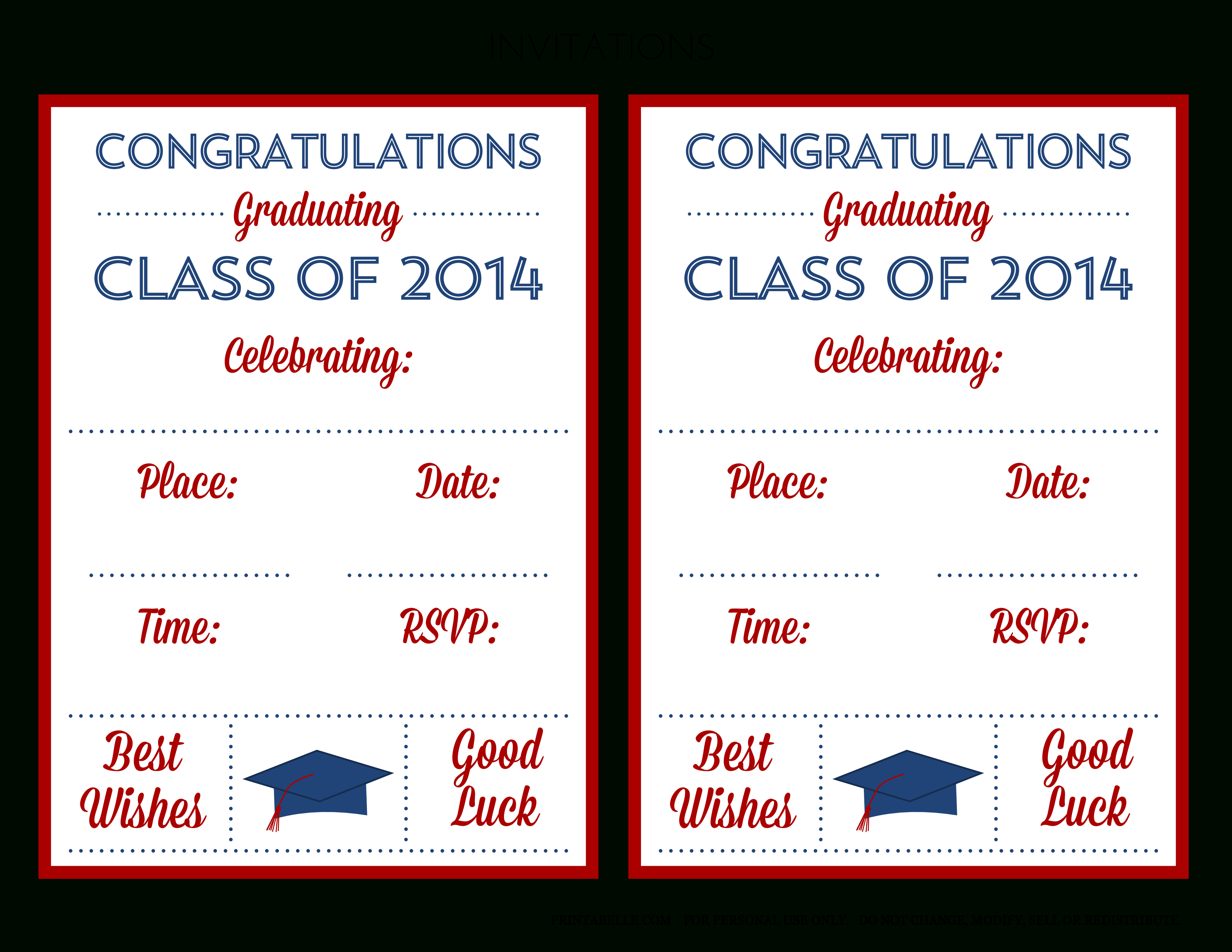 Free 2014 Graduation Party Printables From Printabelle | Catch My Party - Free Printable Graduation Party Invitations 2014