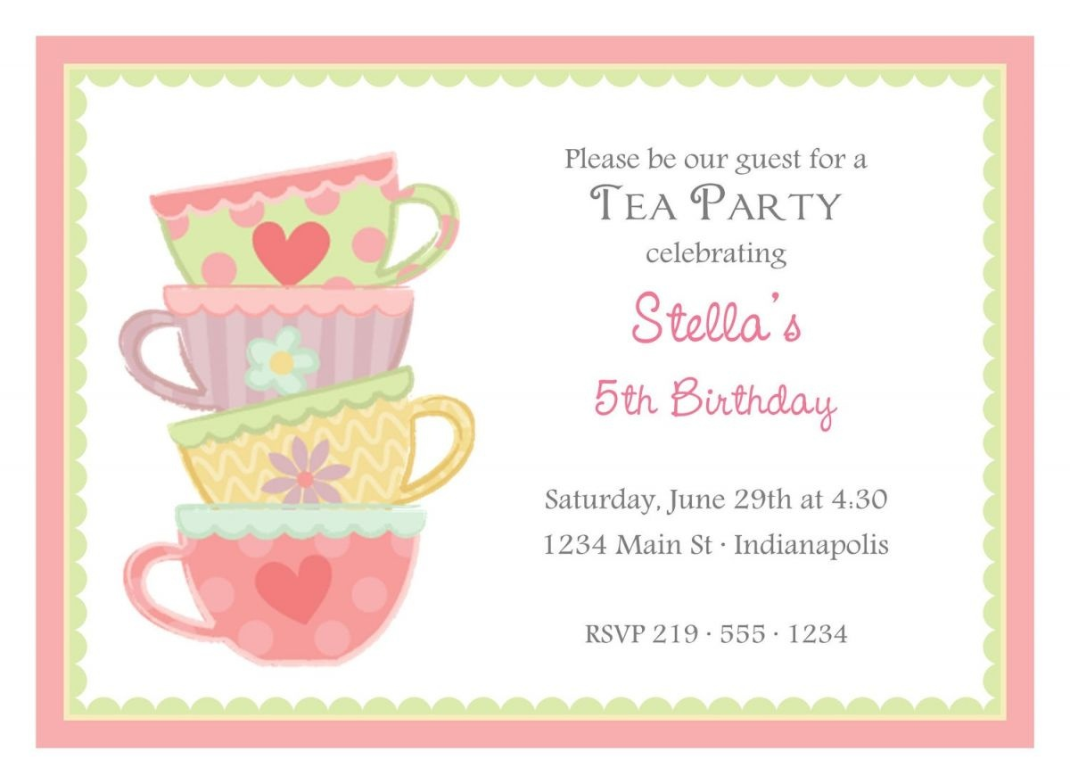 Free Afternoon Tea Party Invitation Template | Tea Party In 2019 - Free Printable Kitchen Tea Invitation Templates