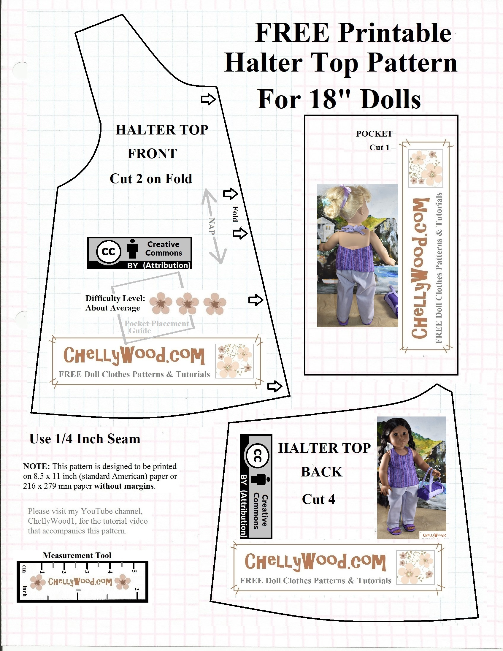 Free #agdoll Summer Shirt Pattern @ Chellywood #sewing 4#dolls - 18 Inch Doll Clothes Patterns Free Printable
