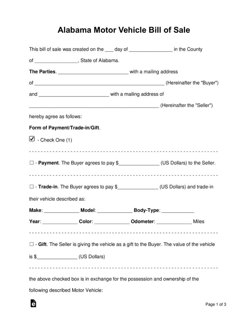 Free Alabama Motor Vehicle Bill Of Sale Form - Word   Pdf   Eforms - Free Printable Bill Of Sale For Car