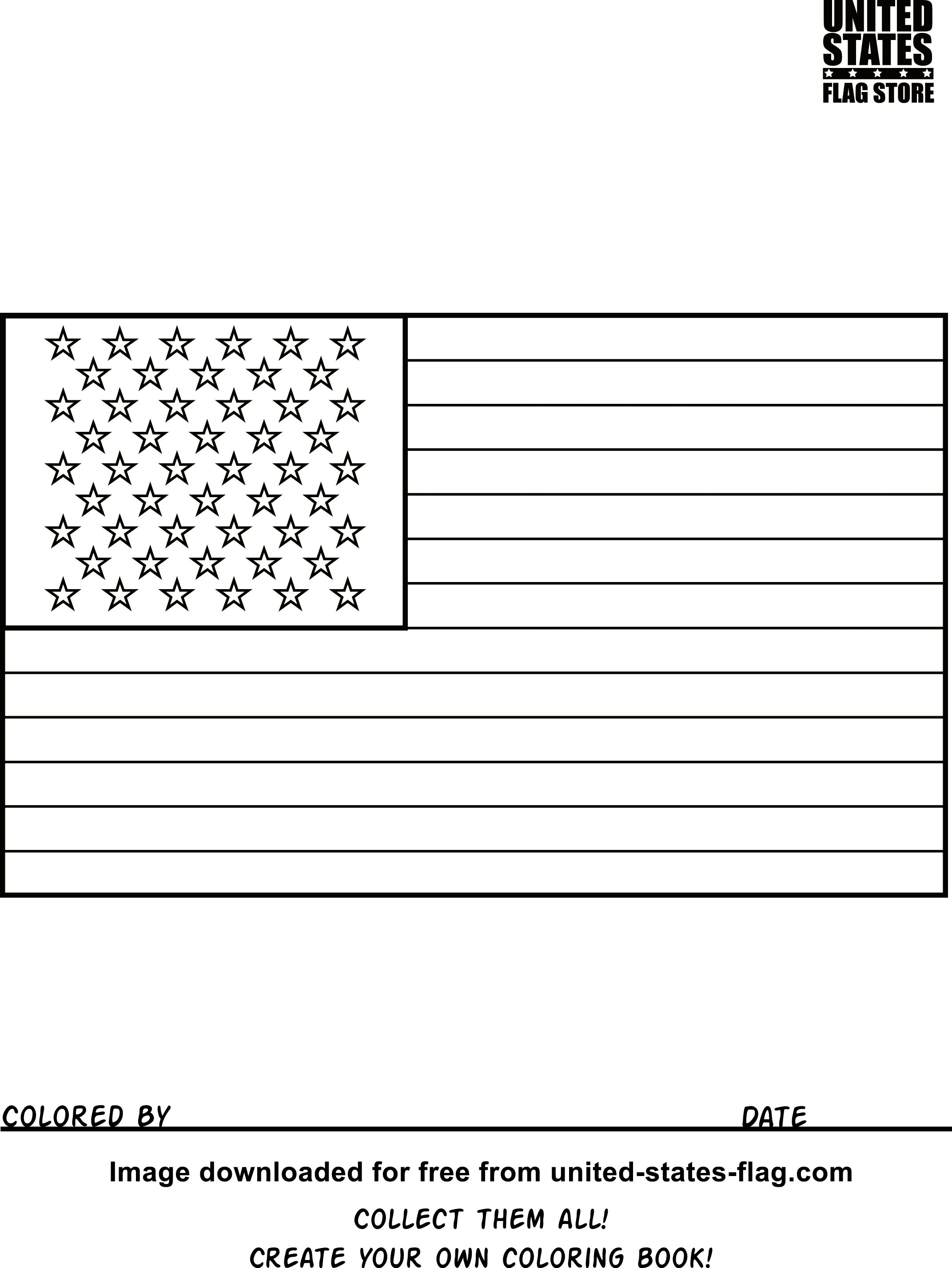 Free American Flag Coloring Pages - Free Printable American Flag Coloring Page