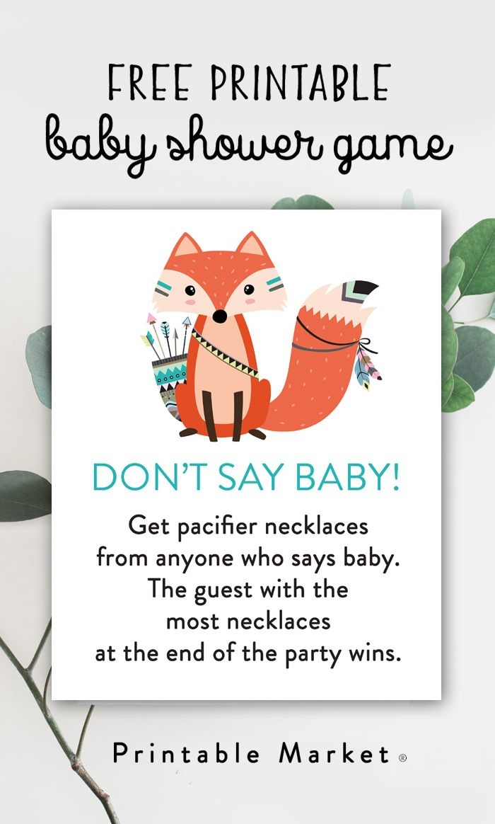Free Baby Shower Game Woodland Fox - Don't Say Baby - Instant - Pin The Dummy On The Baby Free Printable