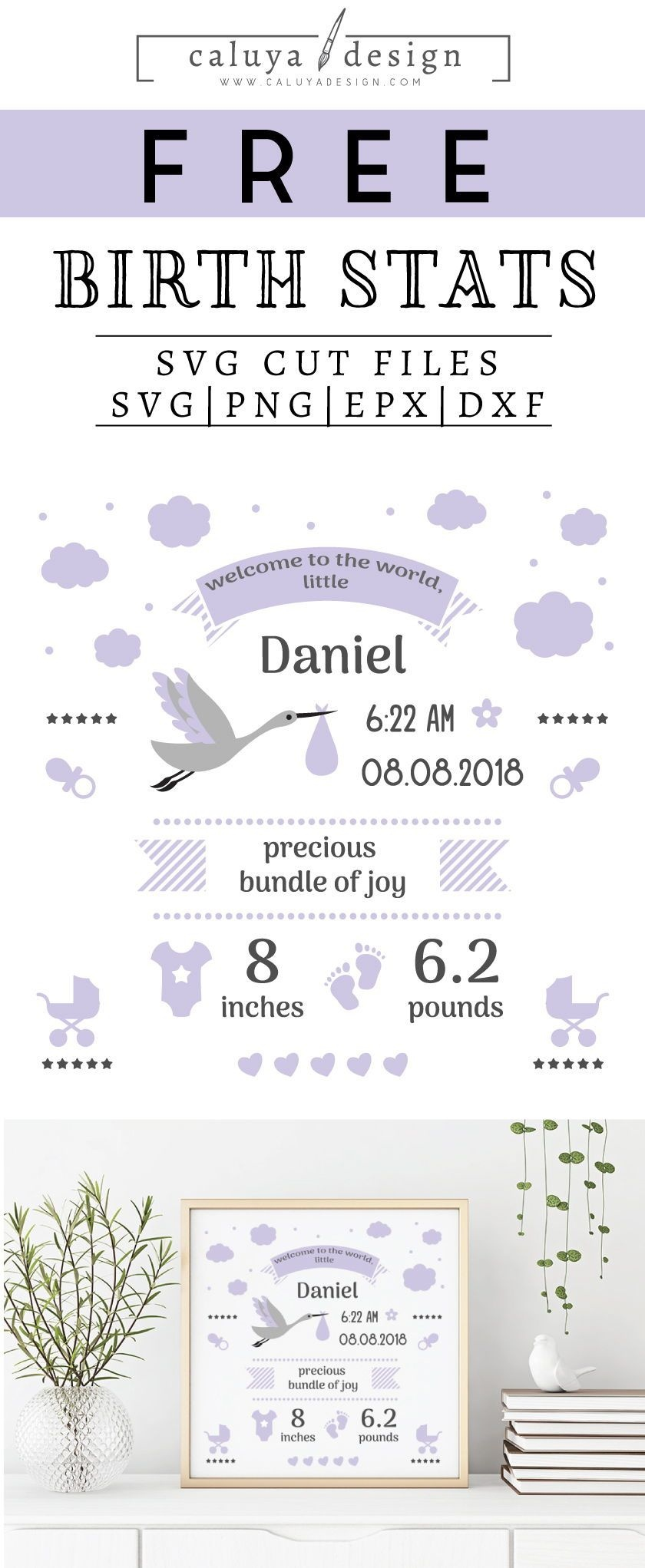 Free Birth Stats Board Svg, Png, Eps & Dxf| My Sanity Hobbies - Free Birth Announcements Printable