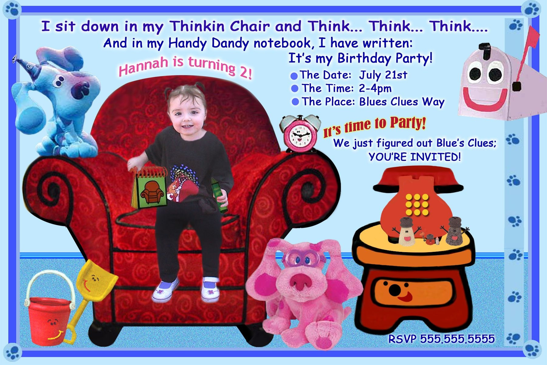 Free Blues Clues Birthday Invitations Ideas | Bagvania Invitation - Blue's Clues Invitations Free Printable