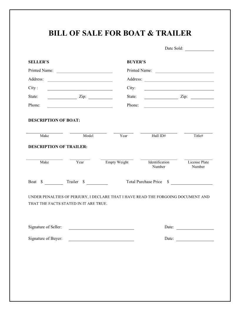 Free Boat & Trailer Bill Of Sale Form - Download Pdf | Word - Free Printable Bill Of Sale For Trailer
