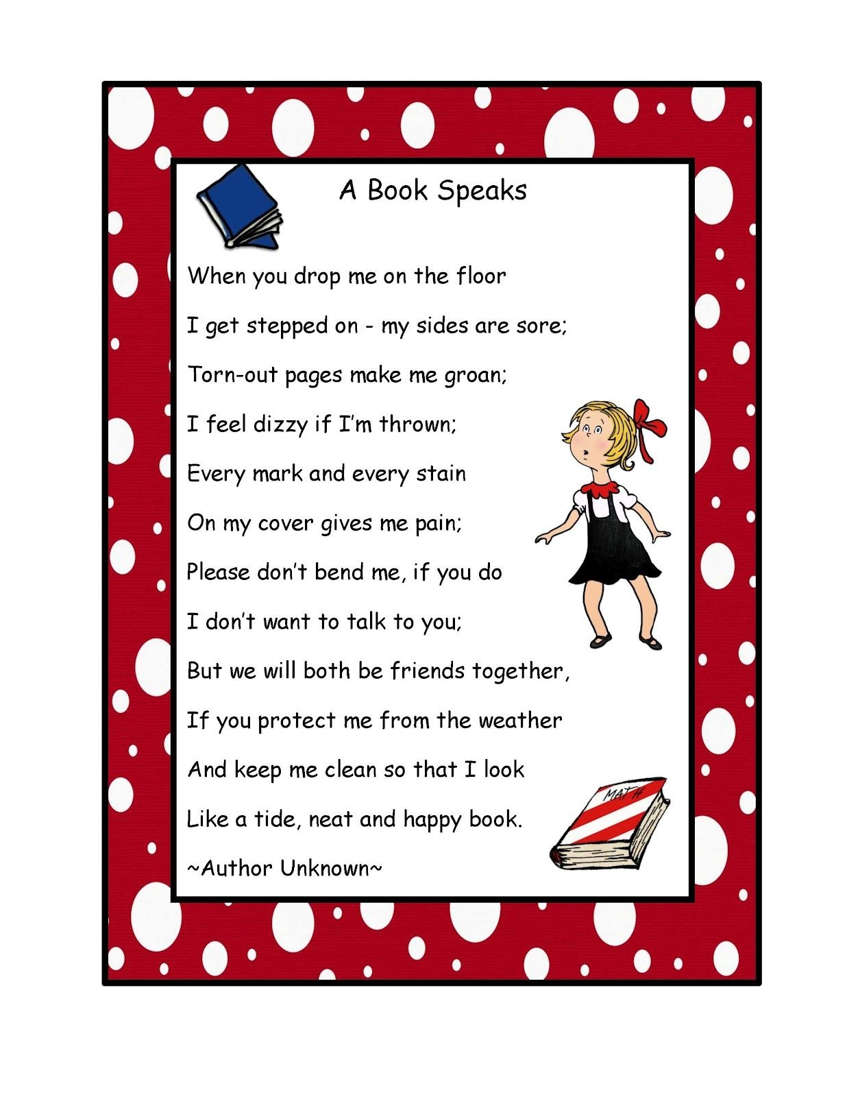 Free Book Poem Poster | Preschool Printablesgwyn | Book Care - Free Printable Poetry Posters