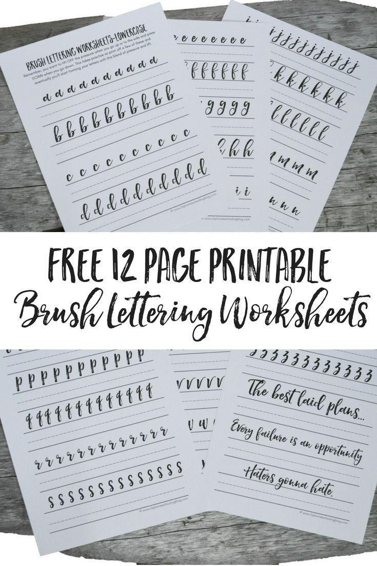 Free Brush Lettering Worksheets | Lettering | Brush Lettering - Free Printable Calligraphy Worksheets