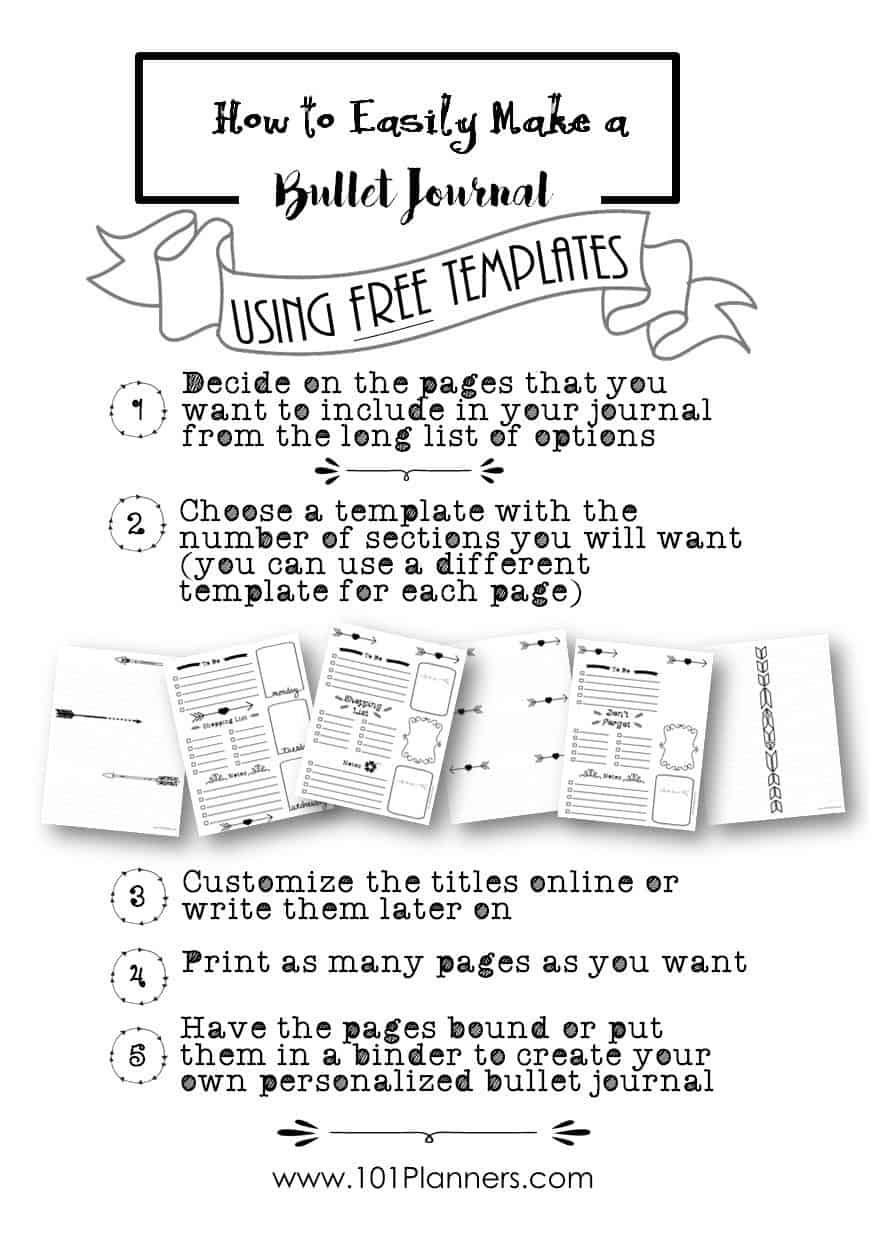 Free Bullet Journal Printables   Customize Online For Any Planner Size - Free Printable Journal Templates