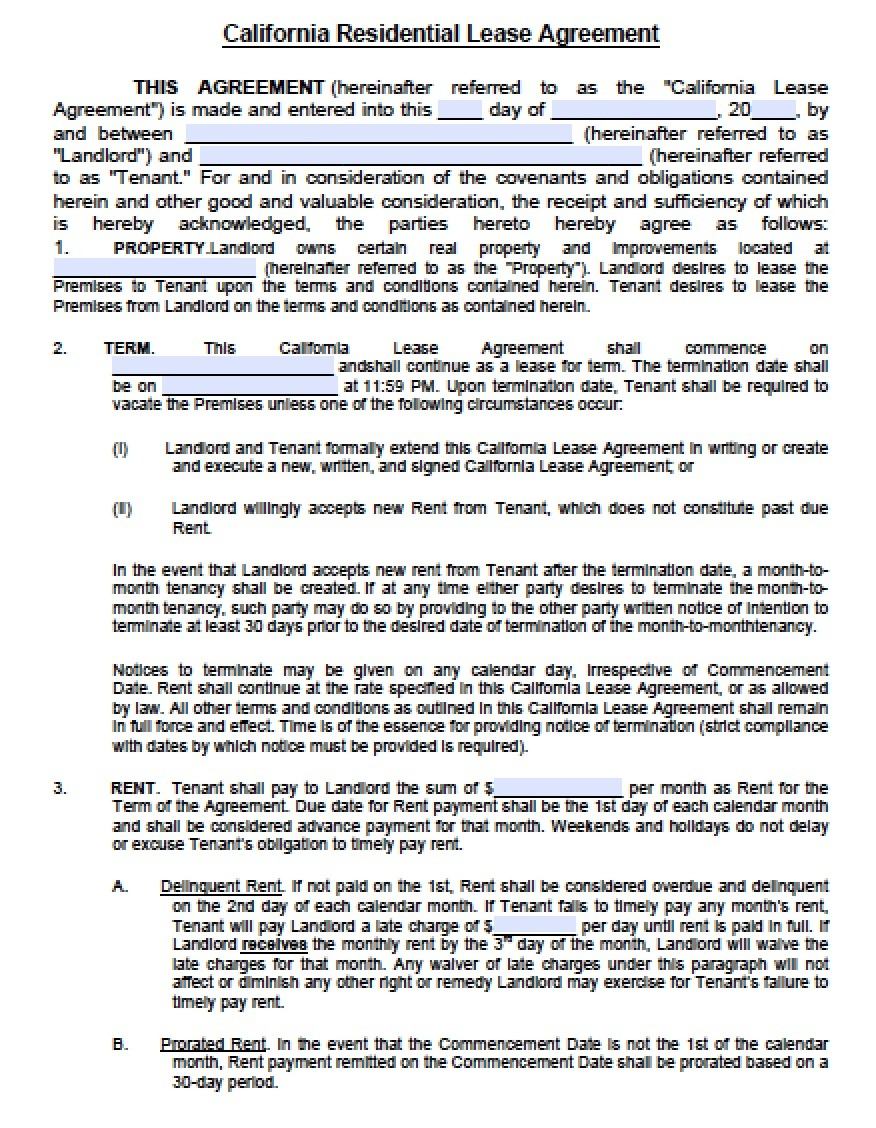 Free California Residential Lease Agreement   Pdf   Word (.doc) - Free Printable California Residential Lease Agreement
