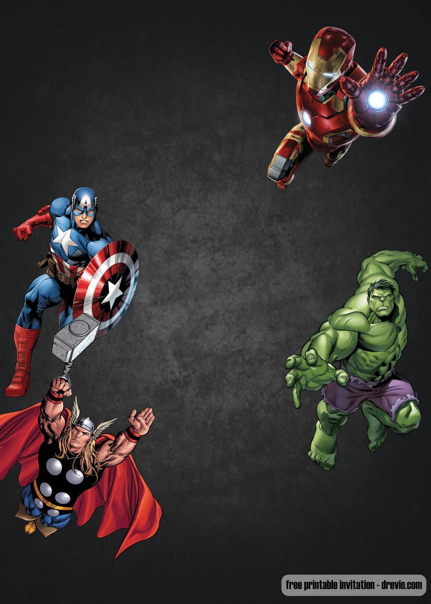 Free Chalkboard Avenger Birthday Invitation   Ry 4 Bd   Birthday - Avengers Party Invitations Printable Free