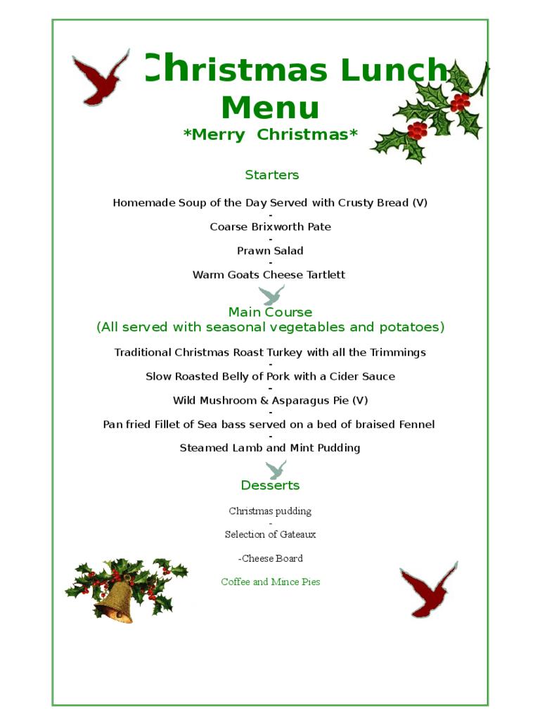 Free Christmas Dinner Menu Template - Tutlin.psstech.co - Christmas Menu Printable Template Free