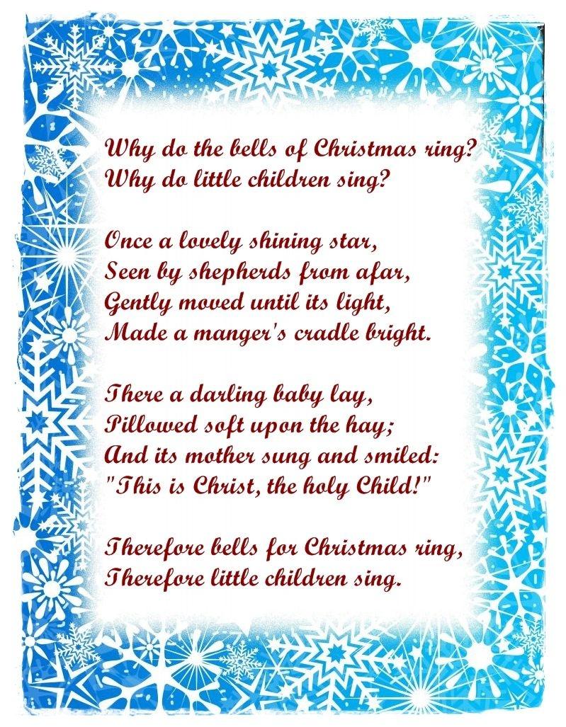 Free Christmas Poems For Children To Recite For Teachers | Christmas - Free Printable Christian Christmas Poems