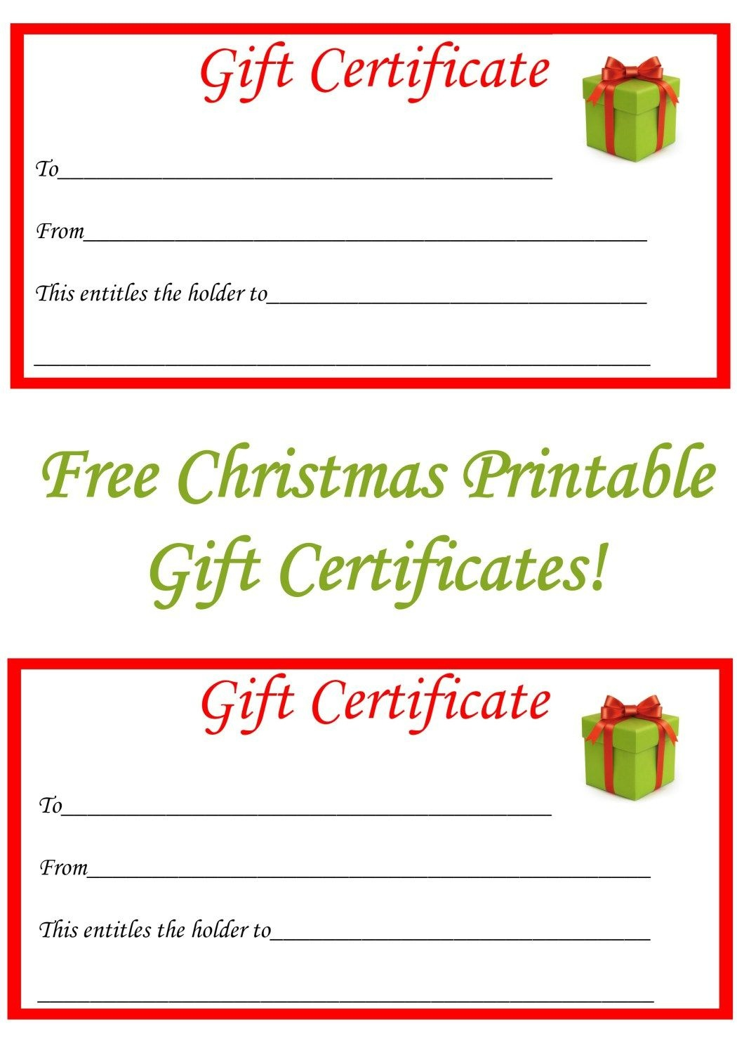 Free Christmas Printable Gift Certificates | Gift Ideas | Christmas - Free Printable Massage Gift Certificate Templates