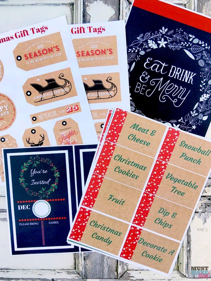 Free Christmas Tags And Decor Printables • Made In A Day - Free Printable Christmas Party Signs