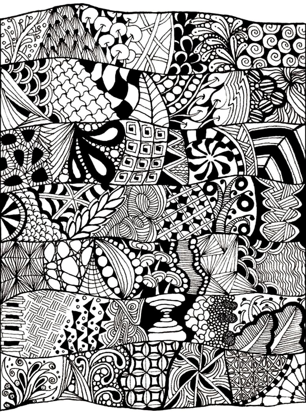 Free Coloring Page «Coloring-Adult-Zen-Anti-Stress-Abstract-To-Pri - Free Printable Doodle Patterns