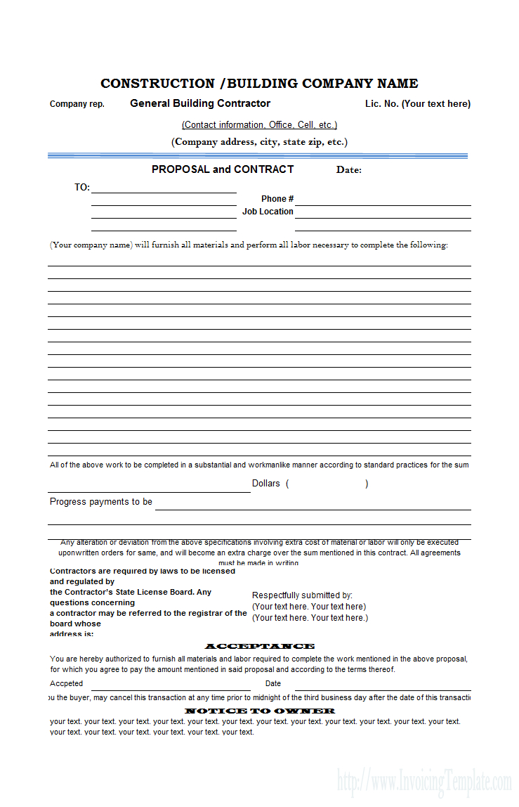 Free Construction Proposal Template - Construction Proposal Template - Free Printable Construction Contracts