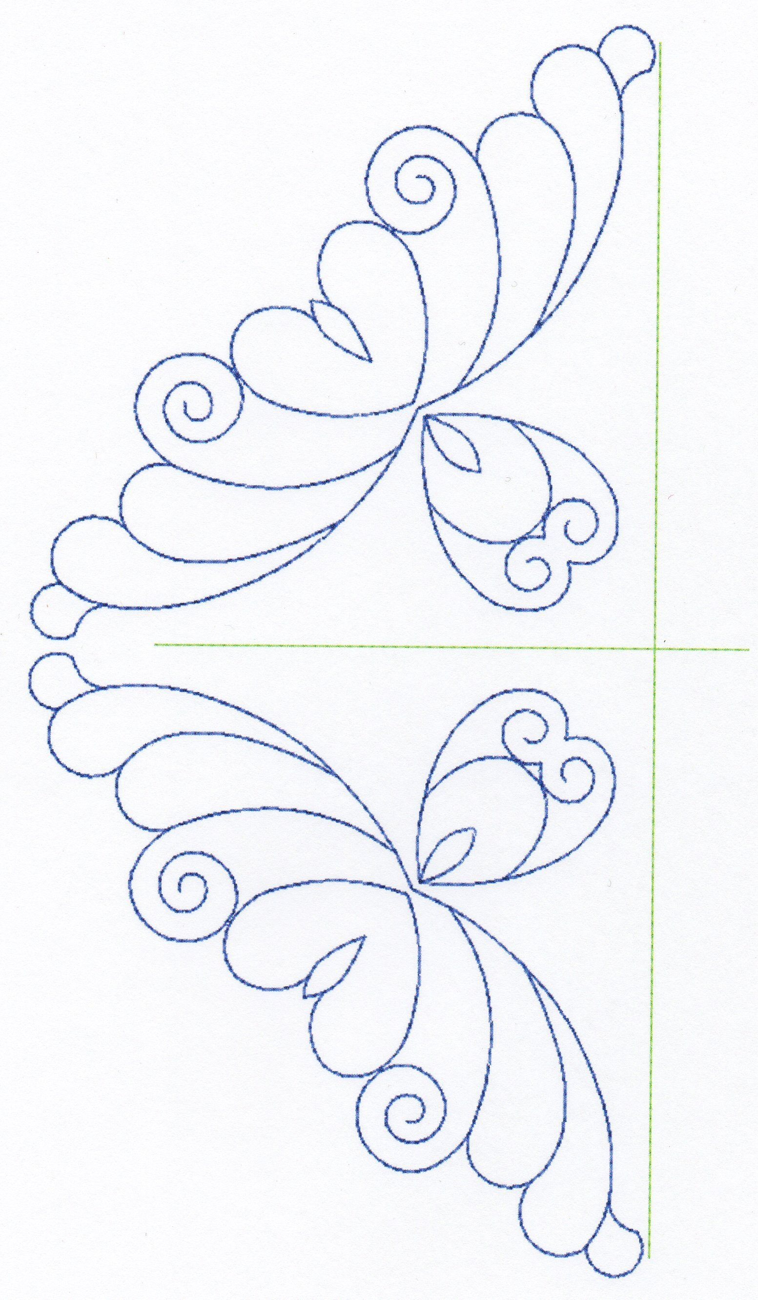 Free Continuous Machine Quilting Designs | Feather Quilting Design - Free Printable Pantograph Patterns