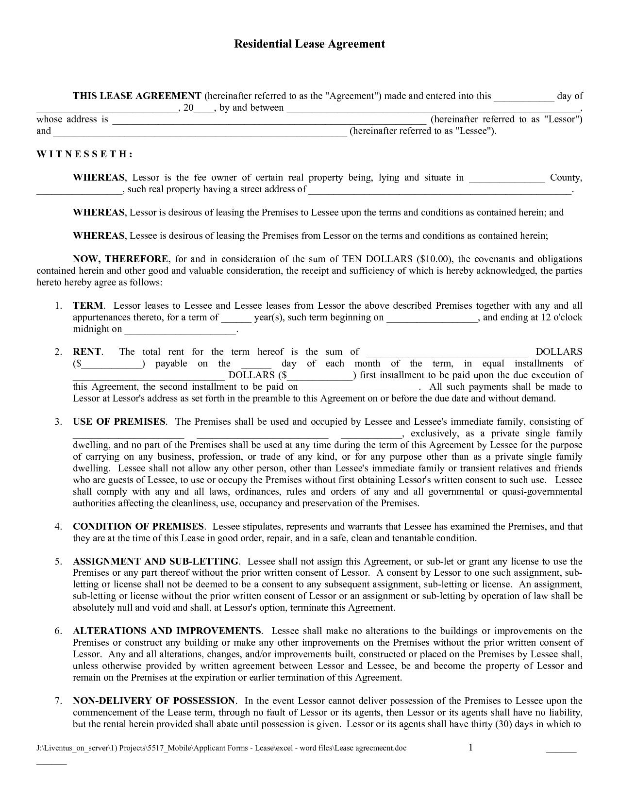Free Copy Rental Lease Agreement   Free Printable Lease Agreement - Free Printable Lease Agreement Forms