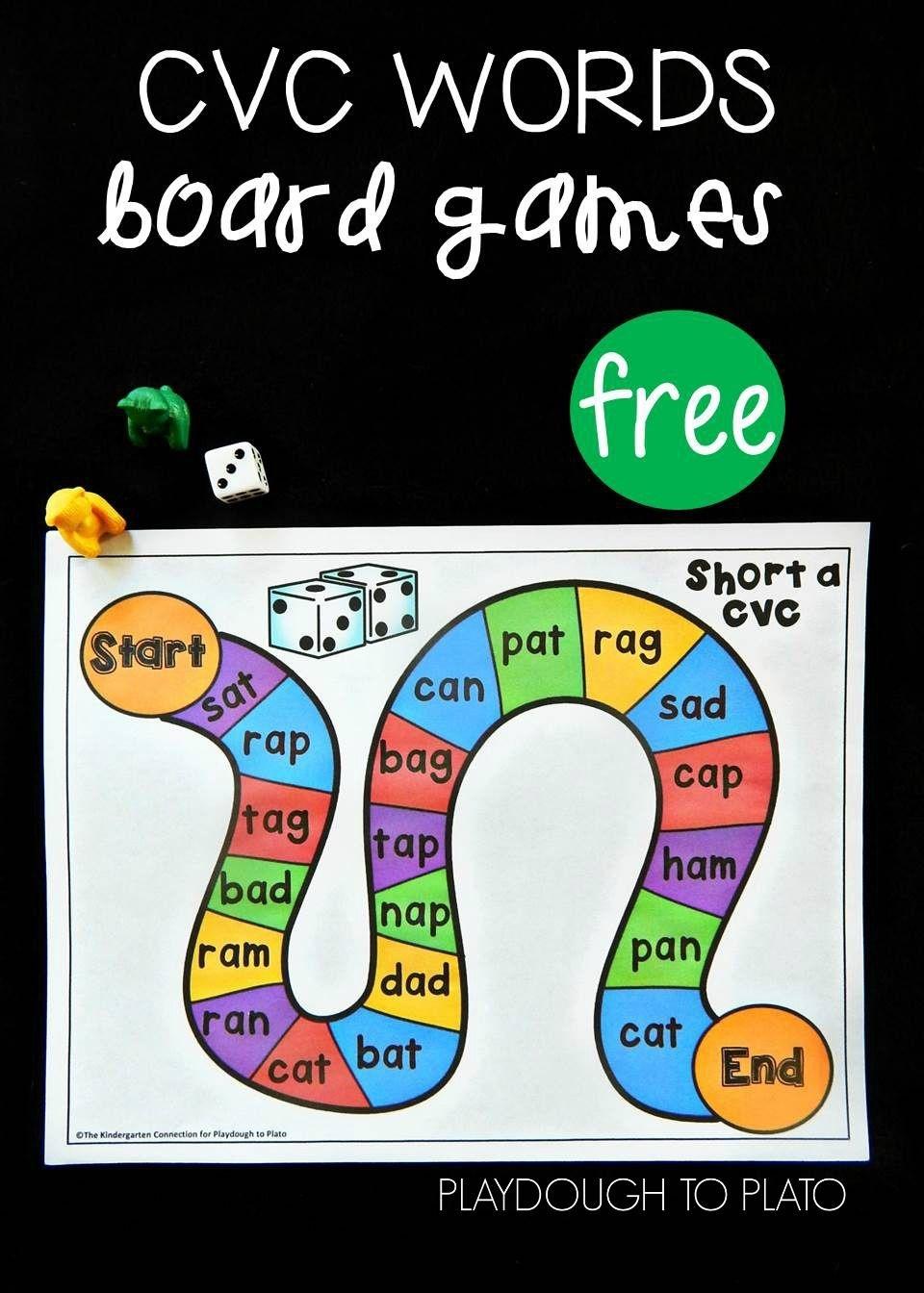 Free Cvc Word Board Games | Kindergarten Literacy Centers | Word - Free Printable Word Family Games