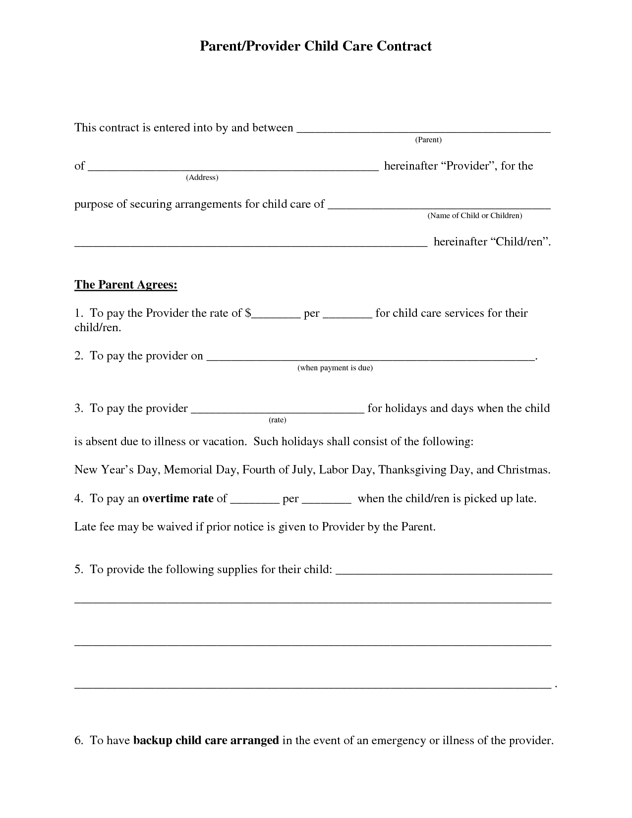 Free Daycare Contract Forms   Daycare Forms   Daycare Contract - Free Printable Daycare Forms