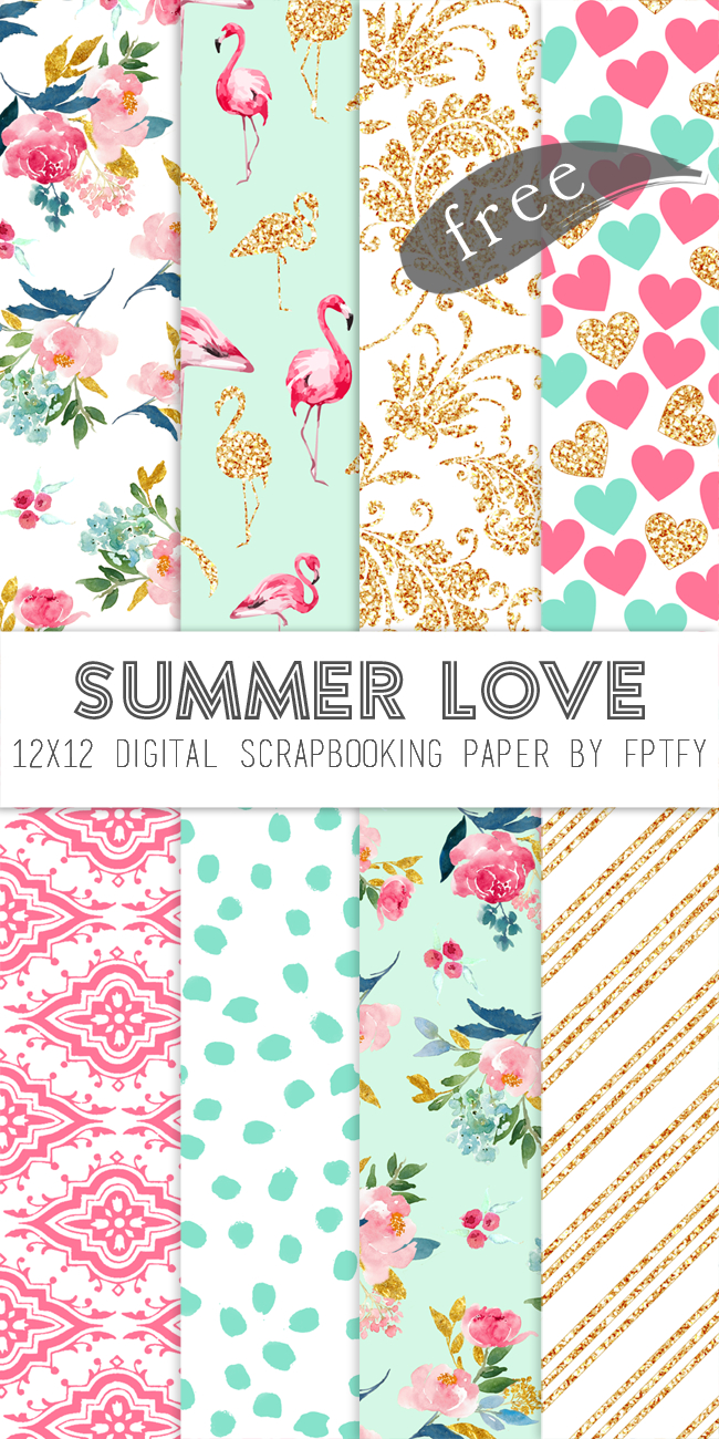 Free Digital Scrapbook Paper-Summer Love - Free Pretty Things For You - Free Printable Scrapbook Paper