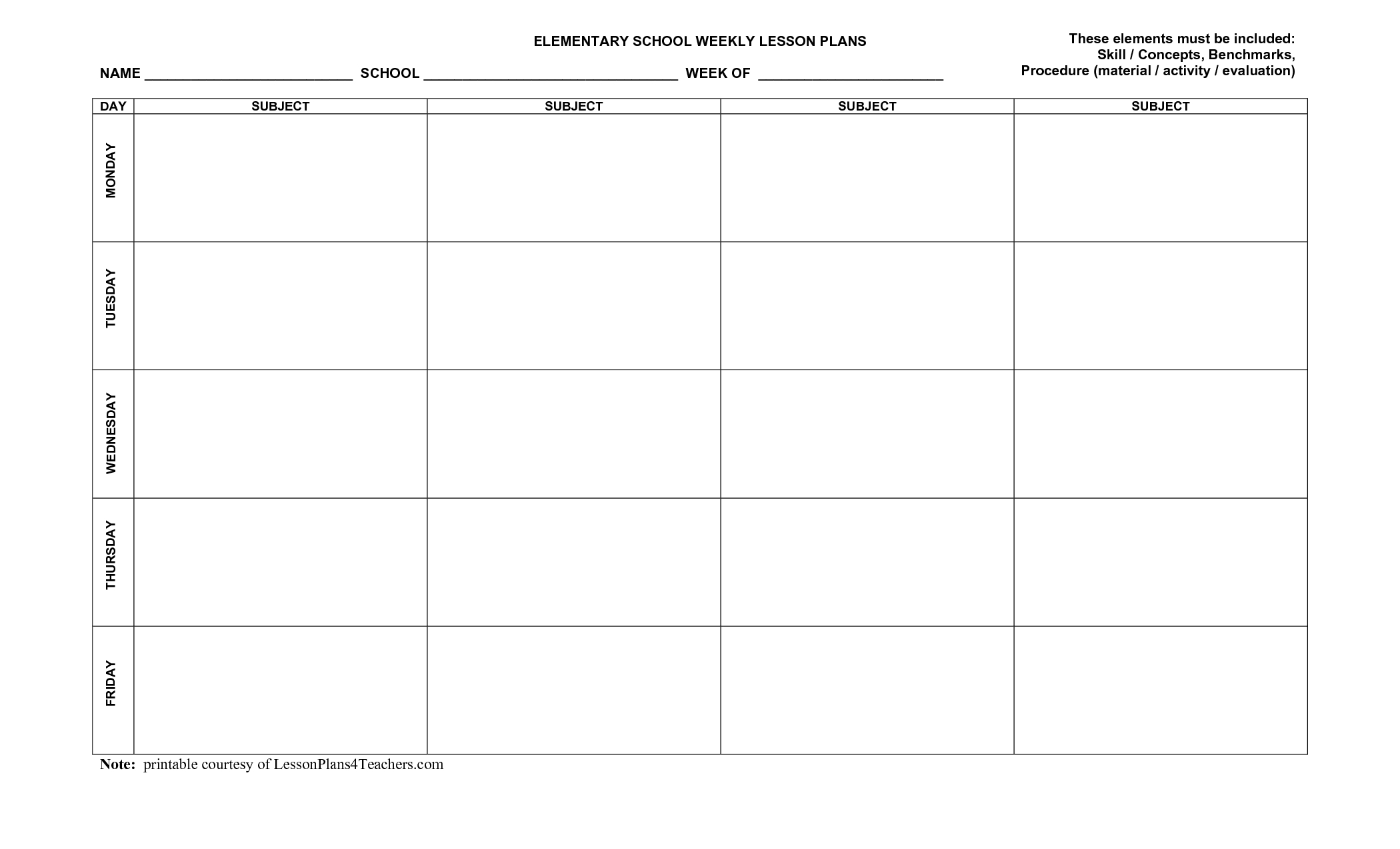 Free Downloadable Lesson Plan Templates - Tutlin.psstech.co - Free Printable Blank Lesson Plan Pages