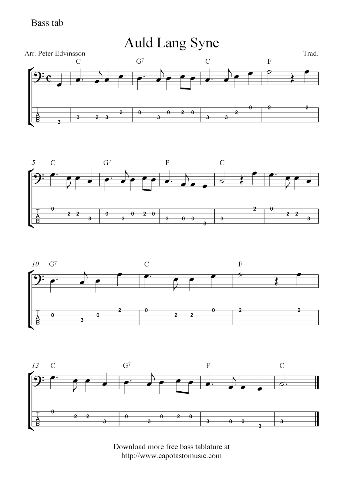 Free Easy Bass Guitar Tab Sheet Music, Auld Lang Syne - Free Printable Guitar Tabs For Beginners