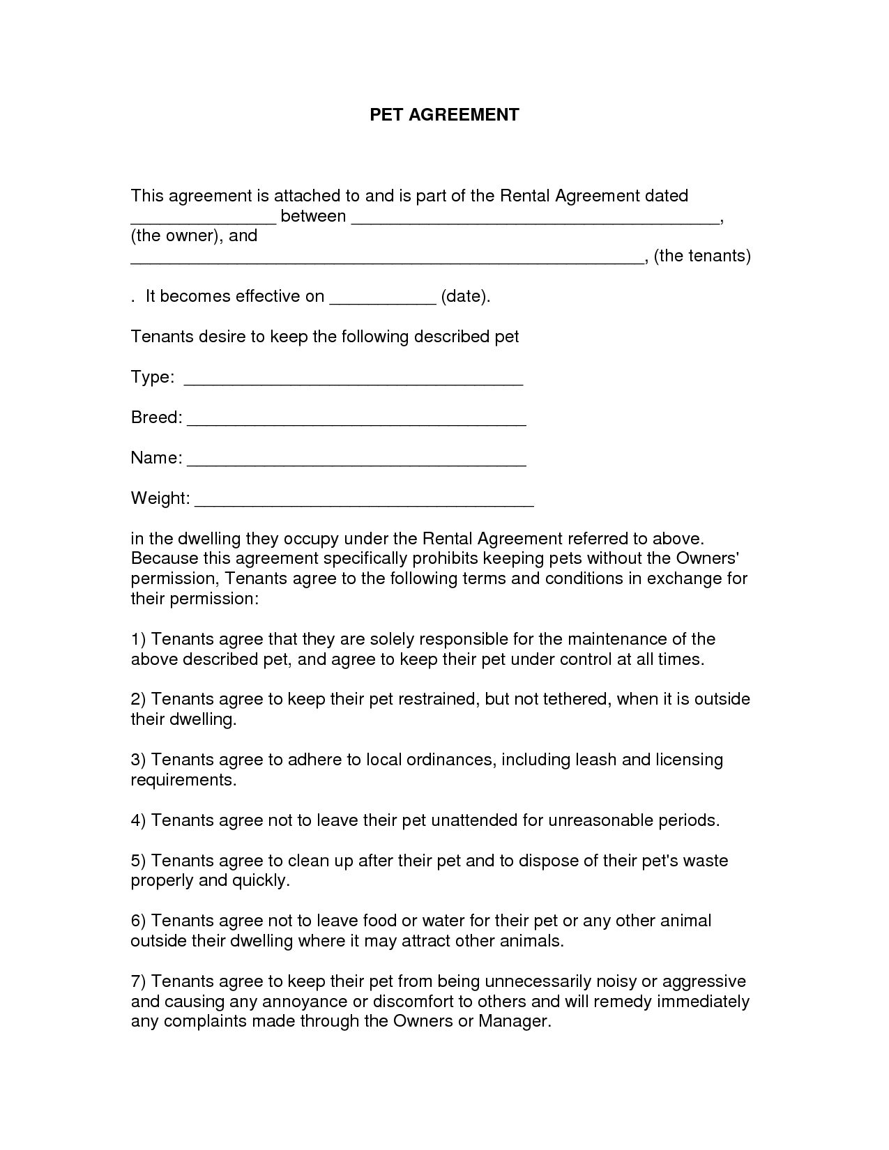 Free Easy Lease Agreement To Print | Free Printable Lease Agreement - Free Printable Lease Agreement